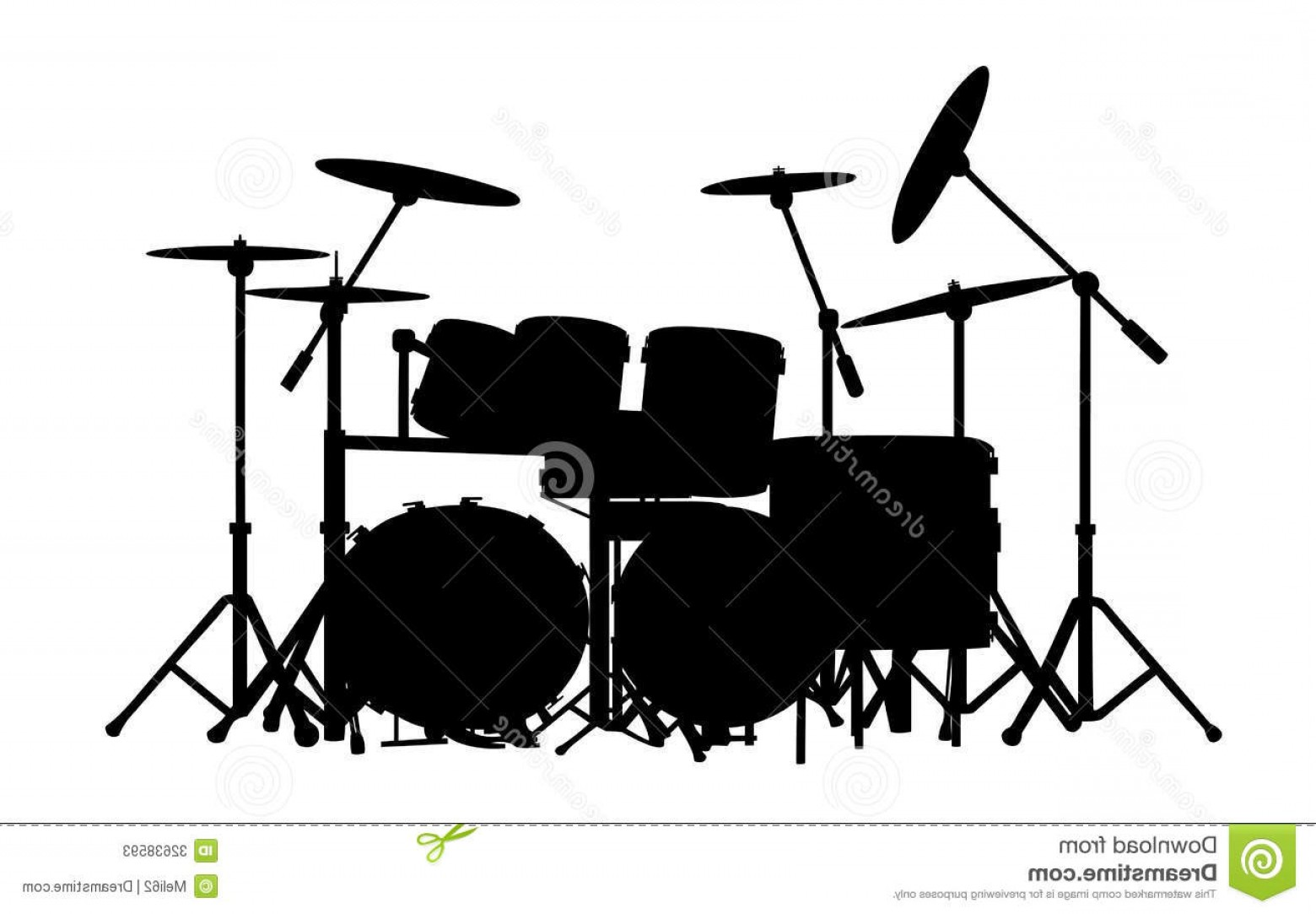Drum Vector Art: Stock Photos Drums Vector Drum Kit Silhouette White Background Image