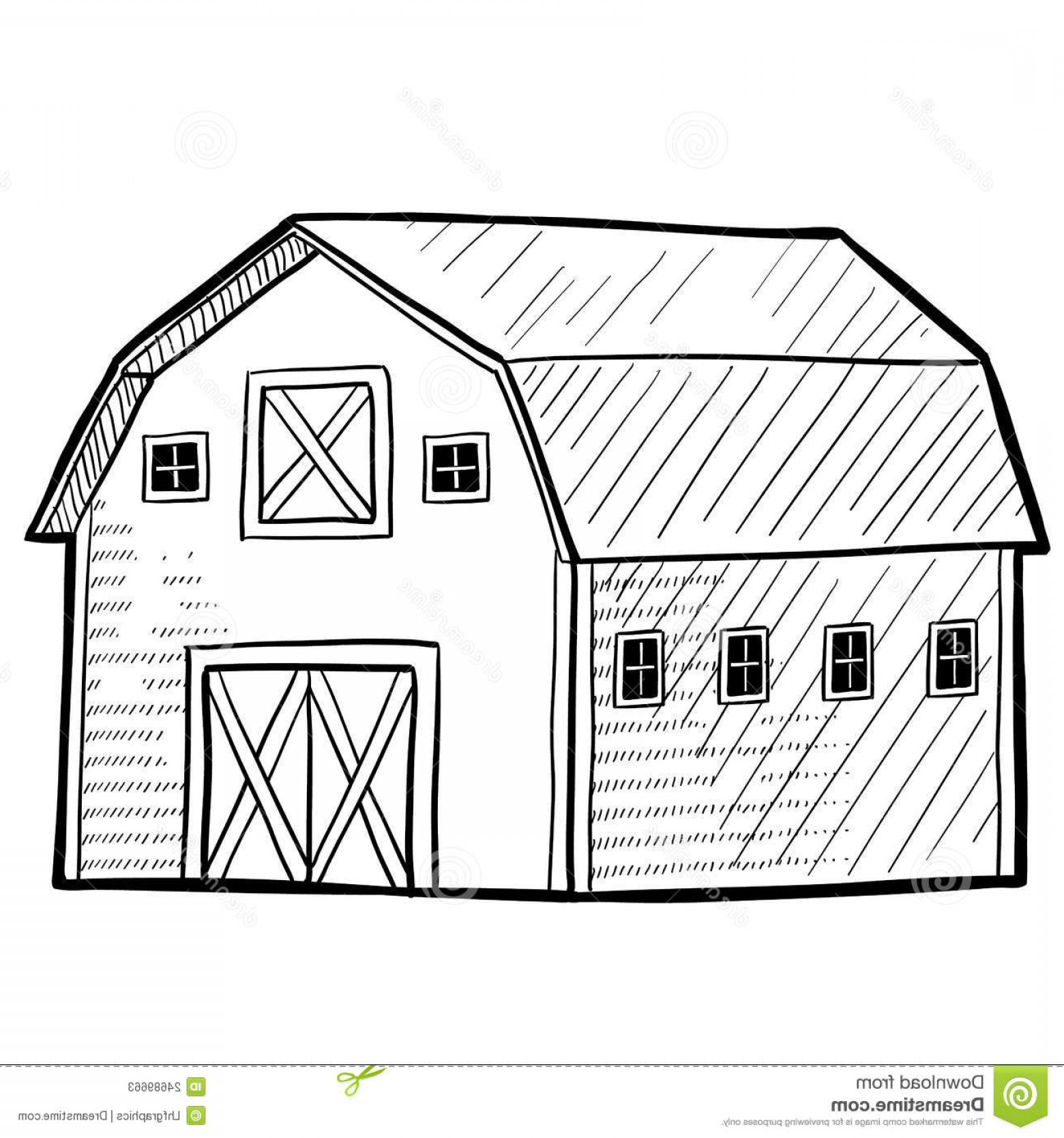 Barn Outline Vector: Stock Photos Dutch Barn Sketch Image