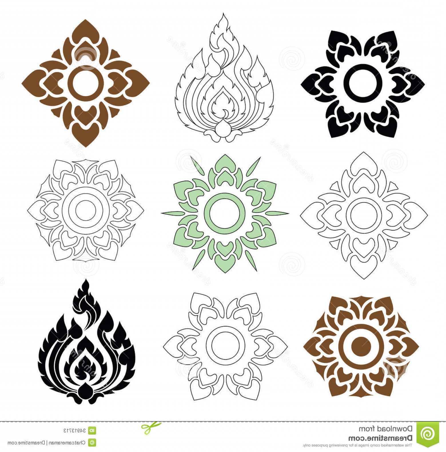 Beautiful Patterns Vector: Stock Photos Floral Leaves Thai Pattern Beautiful White Background Vector Set Image