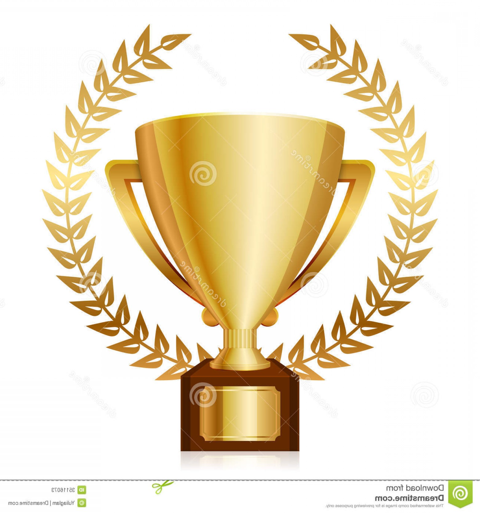 Gold Trophy Vector: Stock Photos Gold Shiny Trophy Laurels Vector Illustration Image