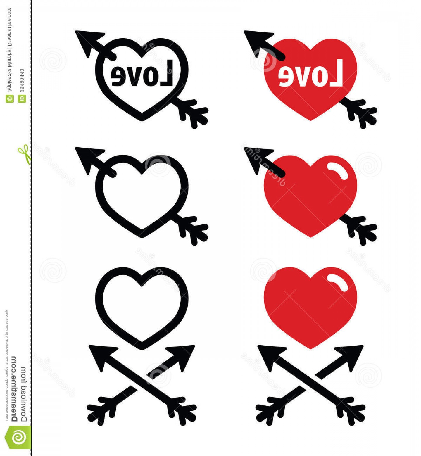 Love With Arrows Vector: Stock Photos Hearts Arrow Love Valentines Icons Set Vector Arrows Isolated White Image