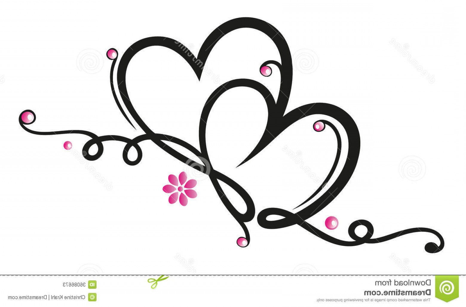 Vector Filigree Heart: Stock Photos Hearts Flowers Filigree Border Valentines Day Decoration Image