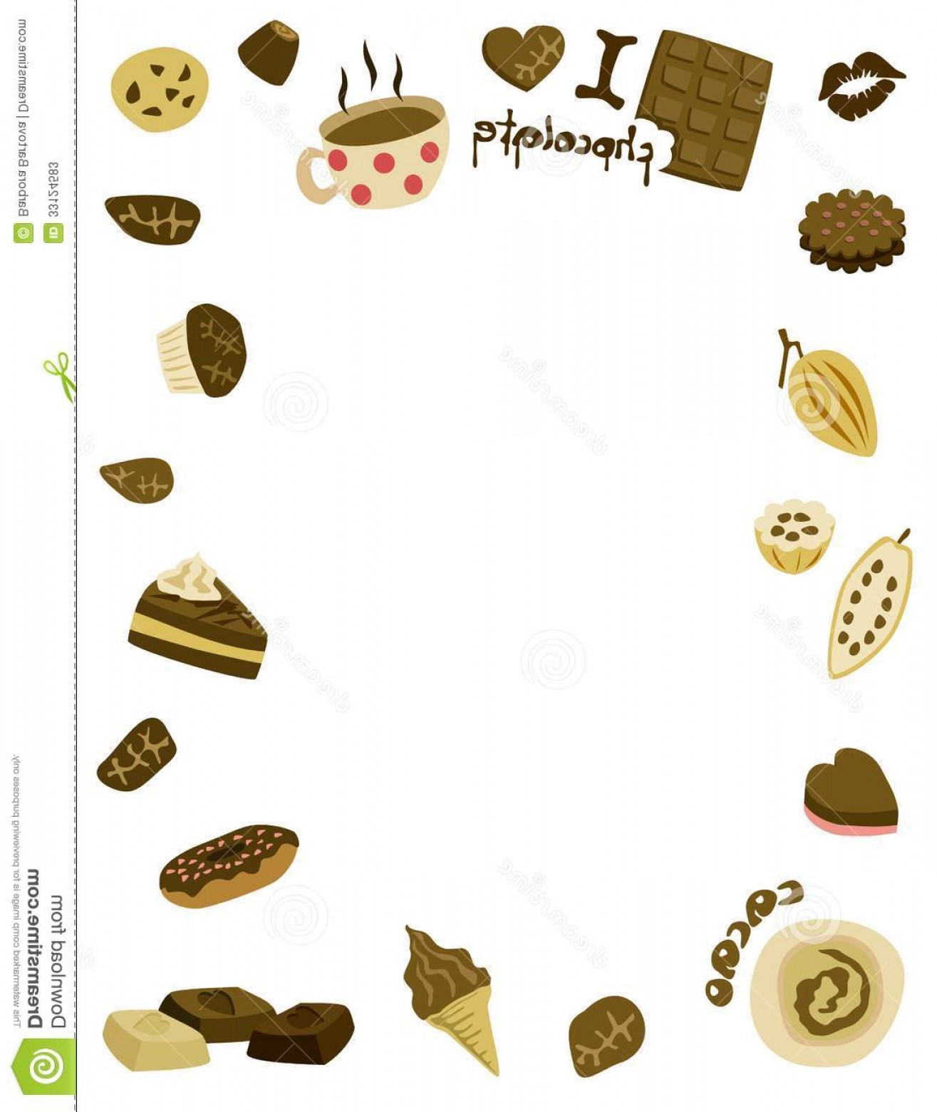 Chocolate Clip Art Vector: Stock Photos I Love Chocolate Frame Icons Cliparts White Background Vector Art Image