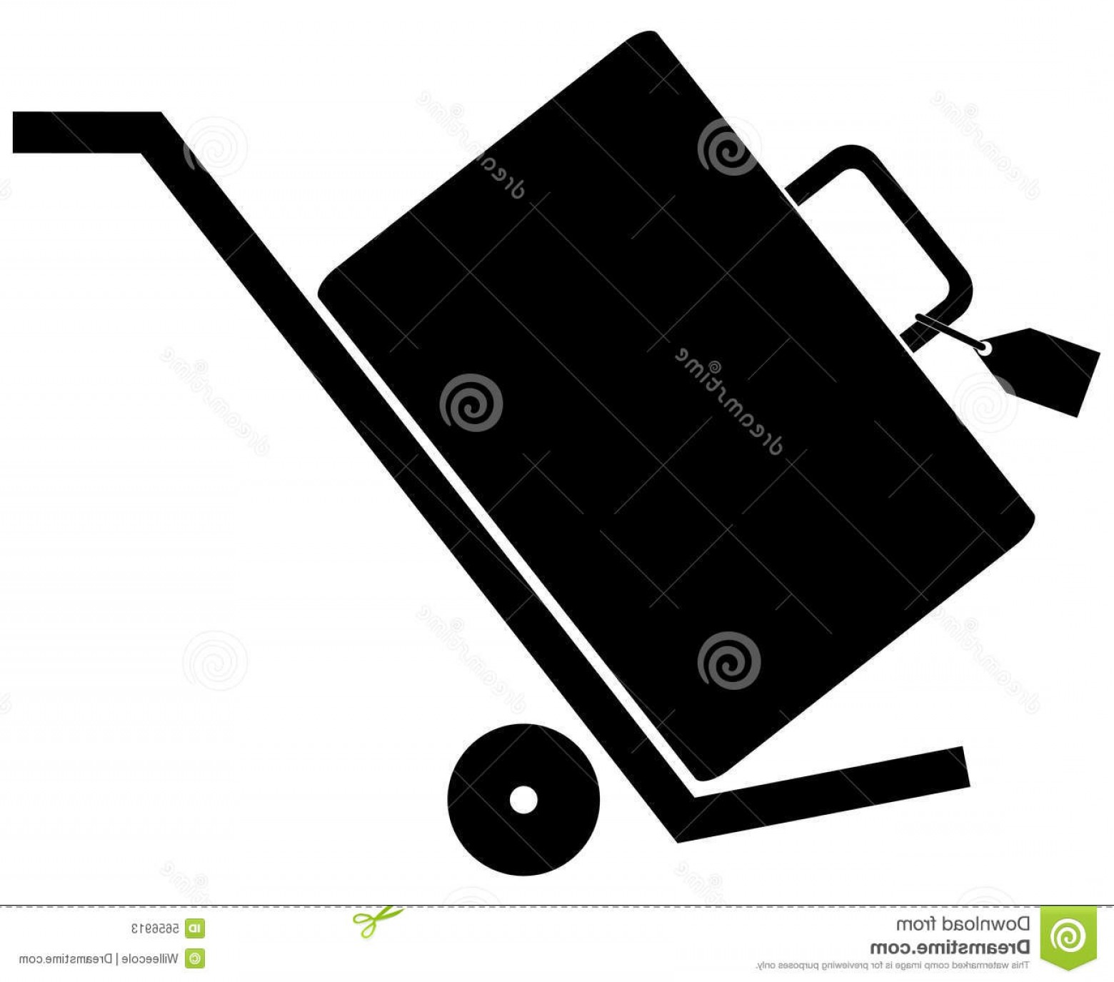 Hand Cart Silhouette Vectors: Stock Photos Luggage Rolling Hand Cart Image
