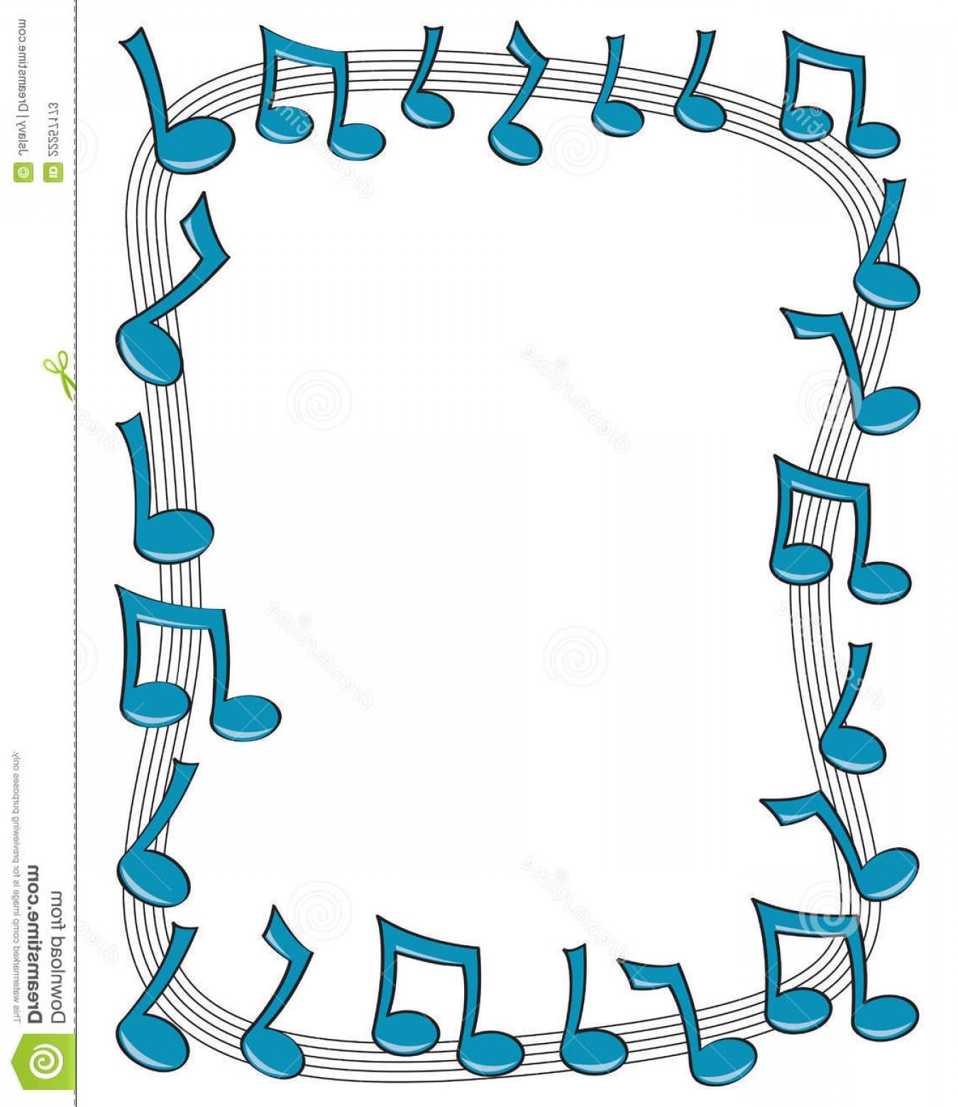 Dancing Musical Notes Vector: Stock Photos Music Note Border Image