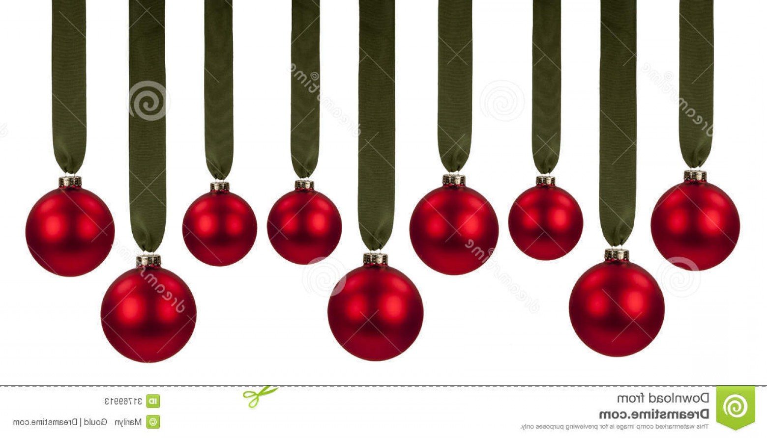 3 Glass Christmas Bulb Vector: Stock Photos Red Christmas Ornaments Multiple Glass Hanging Green Grosgrain Ribbon Isolated White Background Image