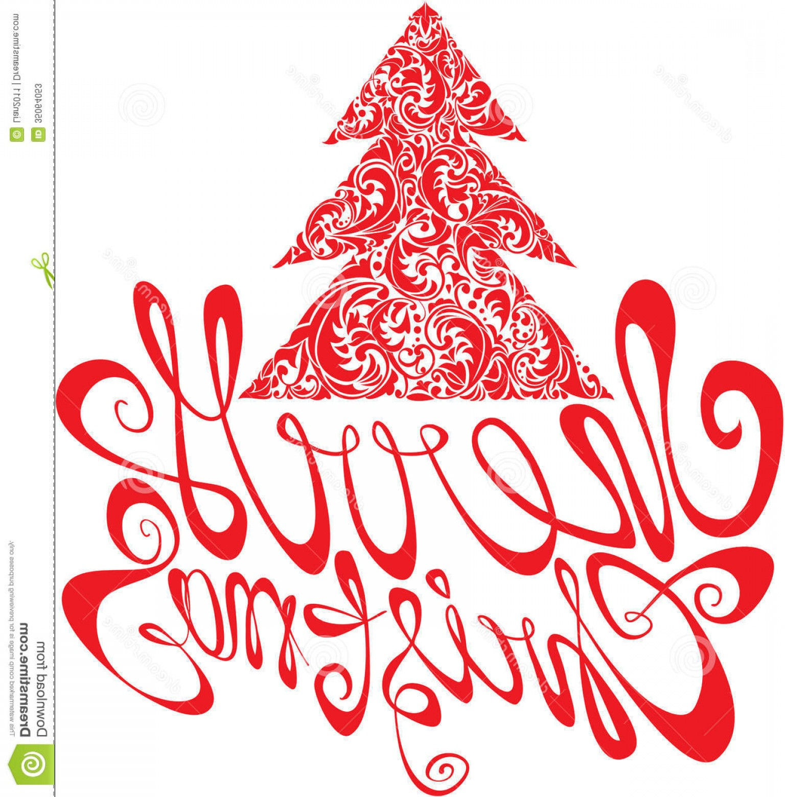 Swirly Christmas Tree Vector: Stock Photos Red Christmas Template Swirly Ornamental Tree Merry Calligraphy White Background Image