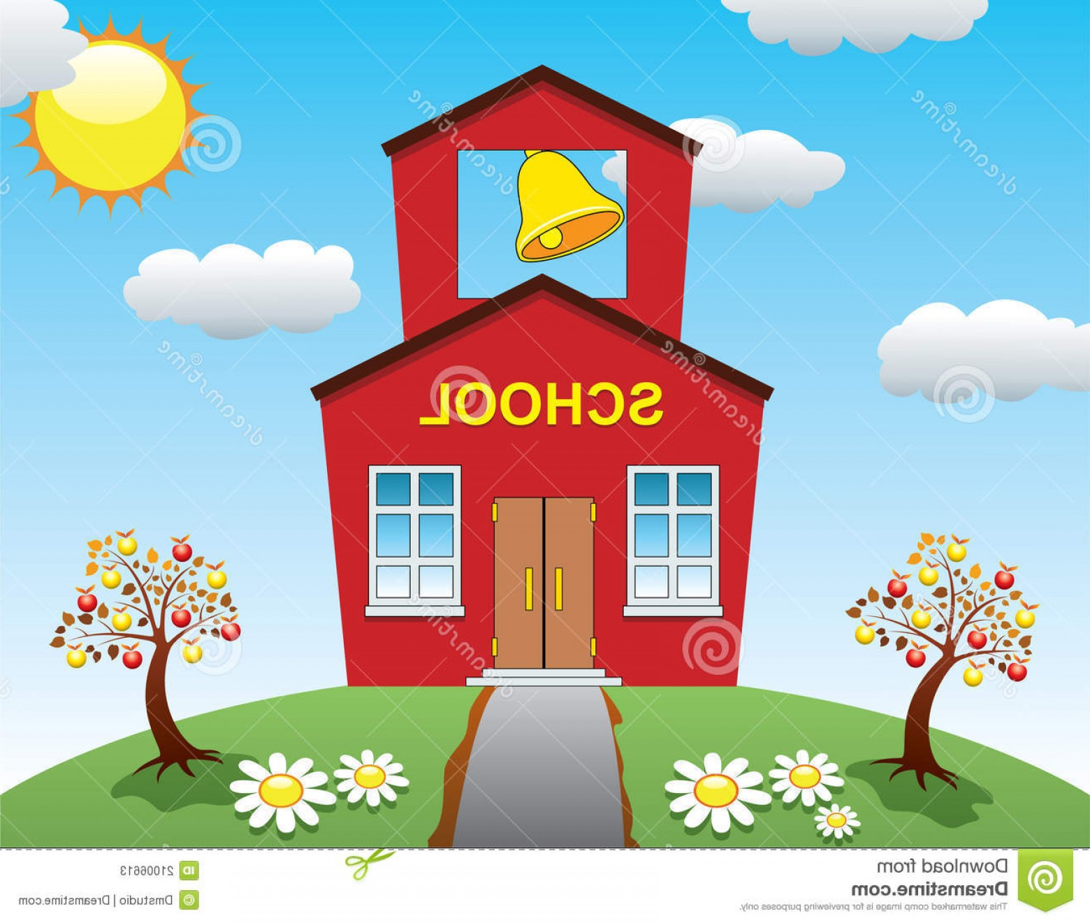 Vector Clip Art Red Schoolhouse: Stock Photos School House Apple Trees Image