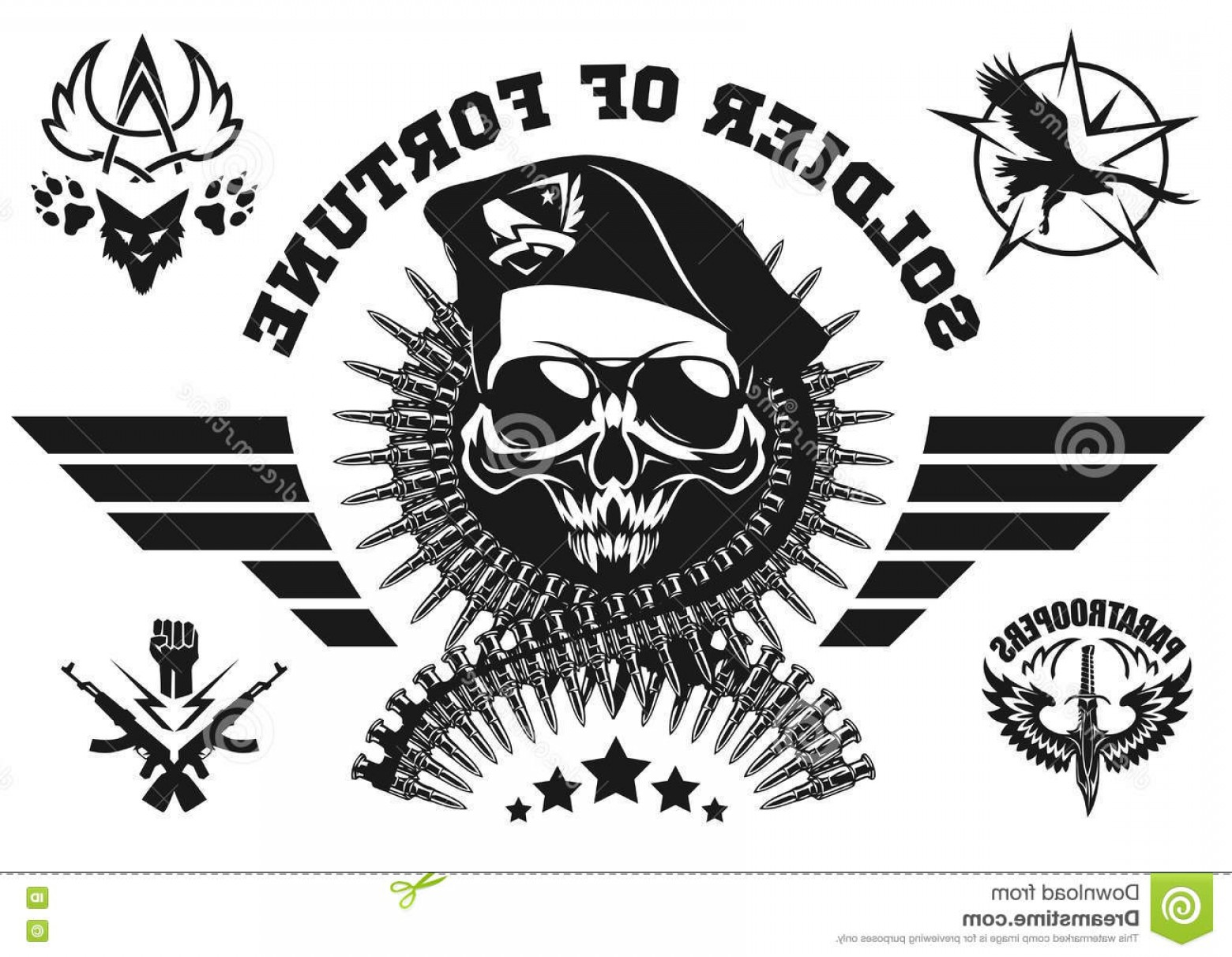 Vector Special Forces Helmet: Stock Photos Skull Helmet Wings Dagger Vector Illustration Barbed Wire Image