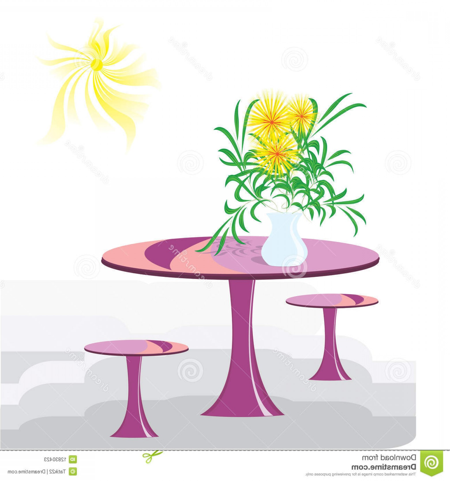 Vector Art Flowers In Vace: Stock Photos Vase Flowers Table Image