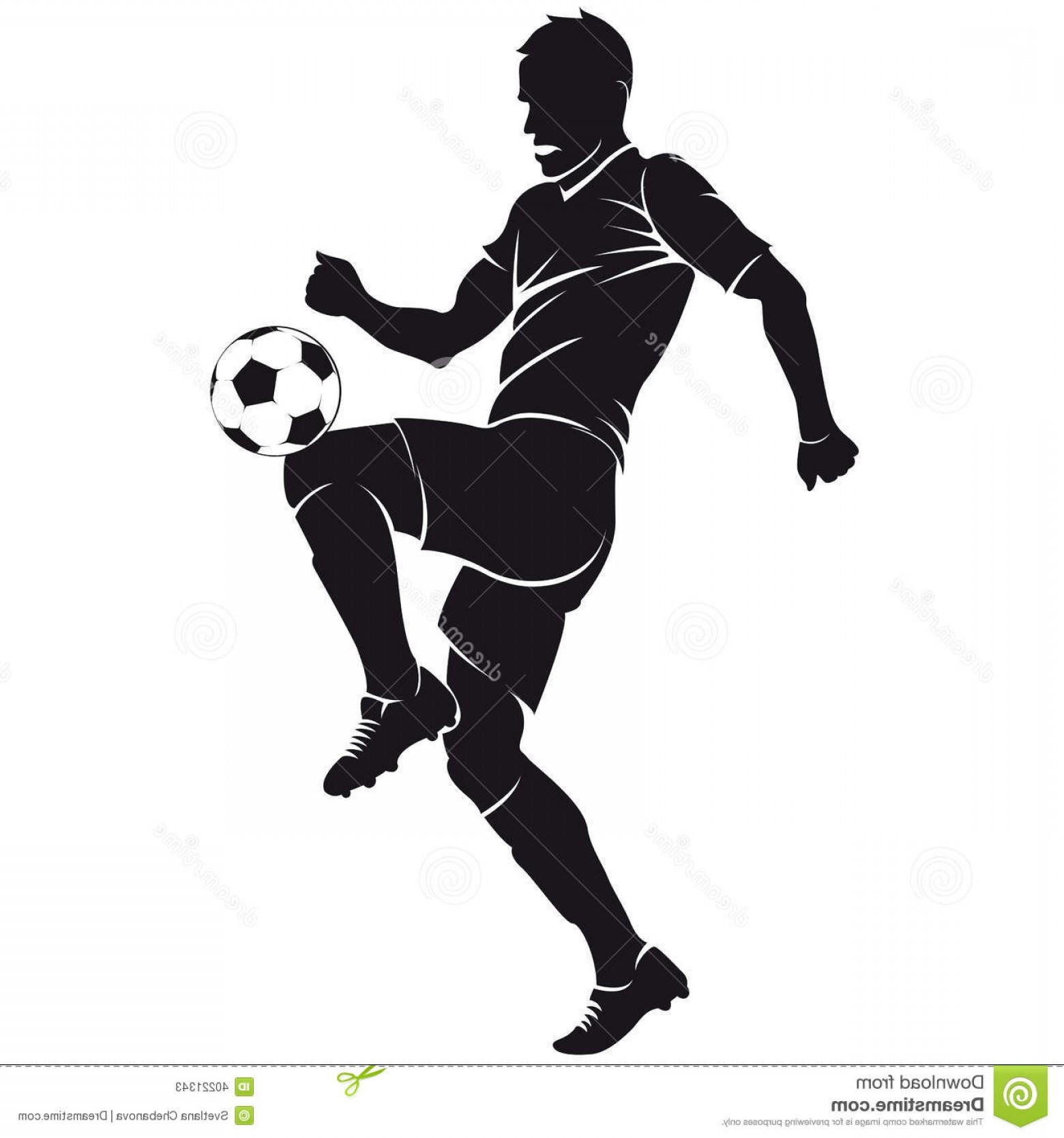Vector Football Girl: Stock Photos Vector Football Soccer Player Silhouette Ba Ball Isolated Isolad White Image