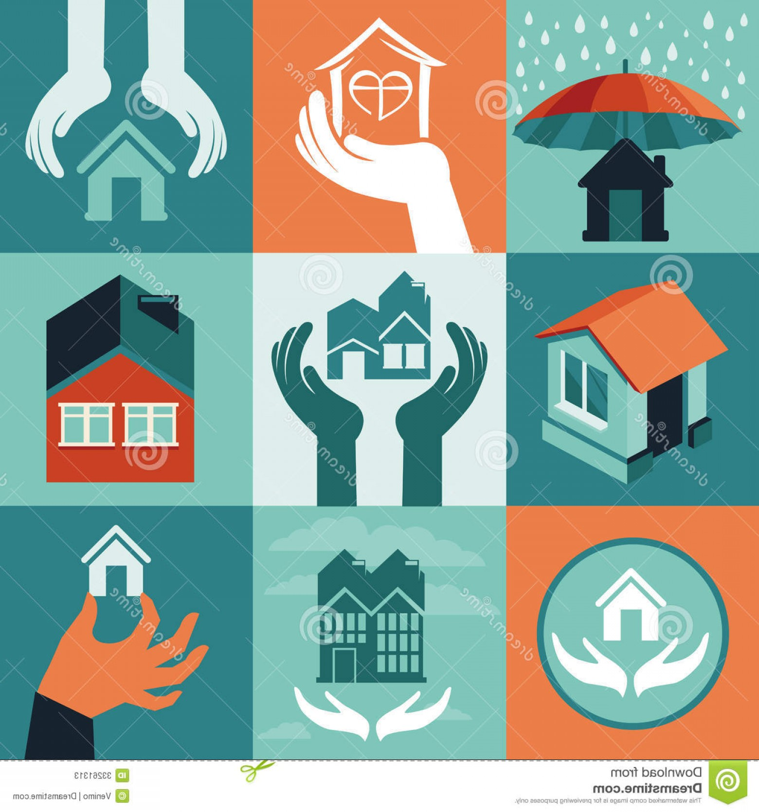 Vector Insurance: Stock Photos Vector House Insurance Set Flat Icons Banners Image