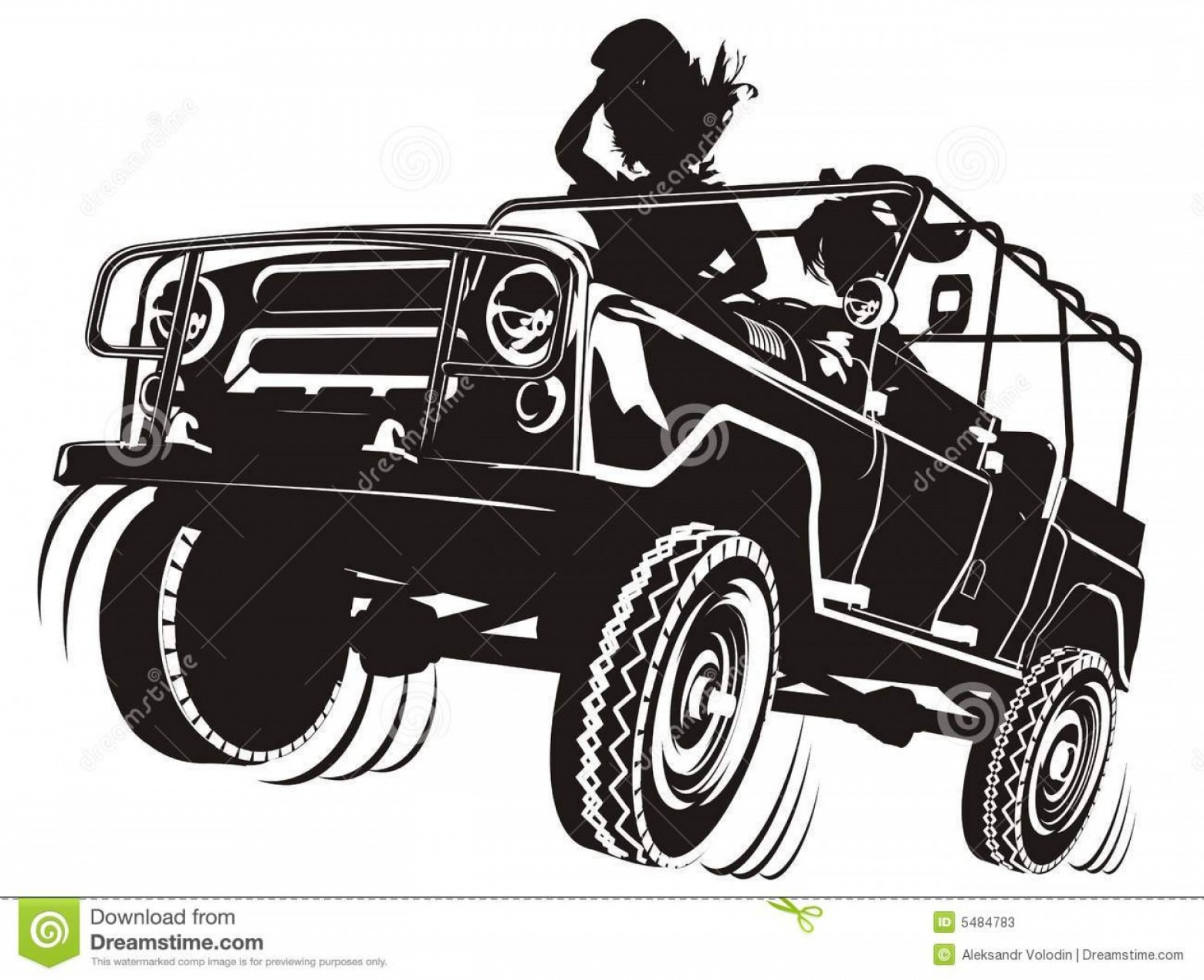 Jeep Tire Vector: Stock Photos Vector Jeep Detailed Silhouette Image