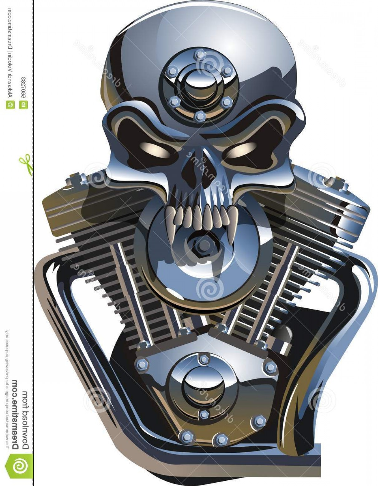 Harley -Davidson Skull Logo Vector: Stock Photos Vector Metall Skull Engine Image
