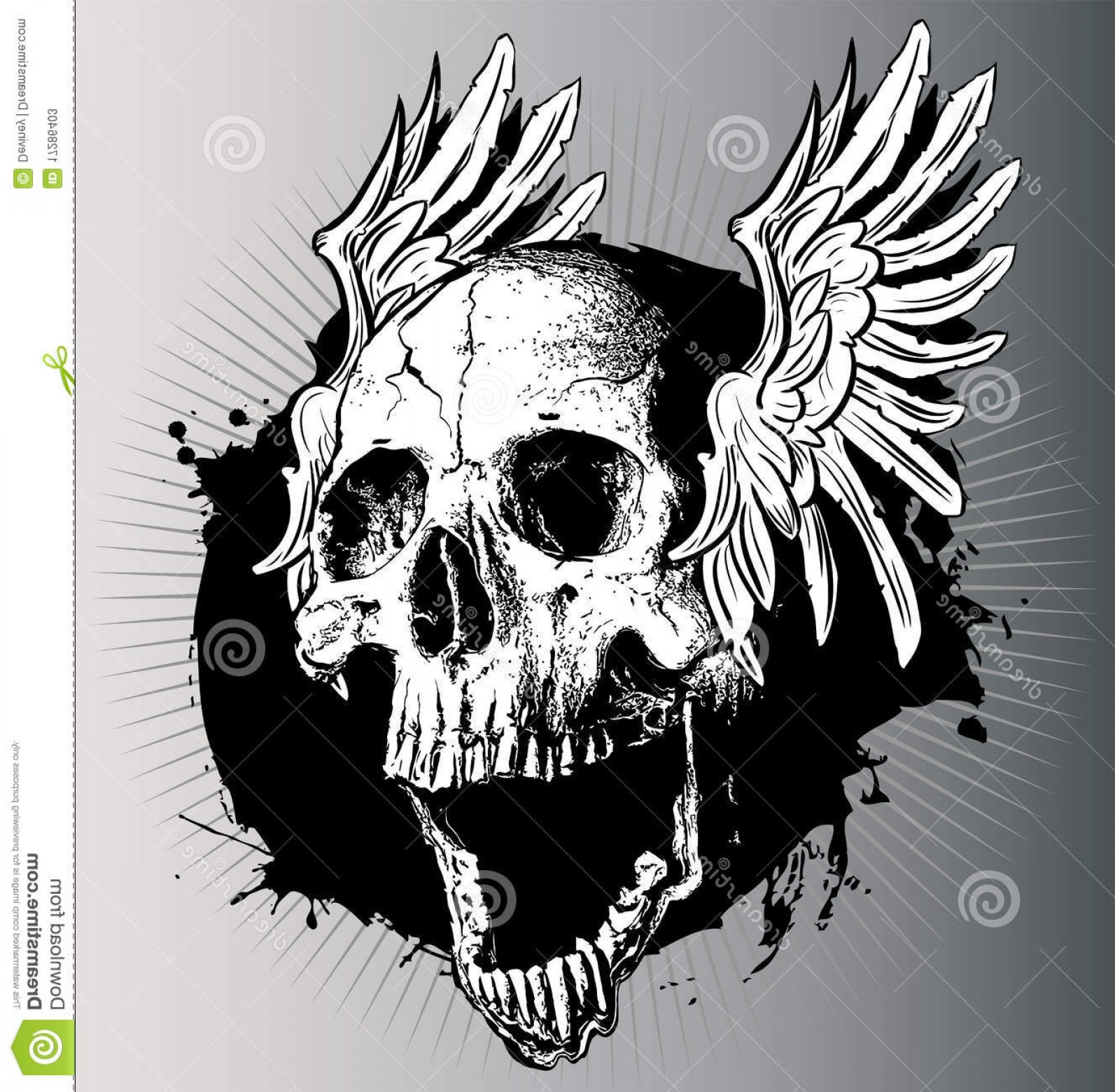 Flying Skull Vector: Stock Photos Vector Skull Wings Image