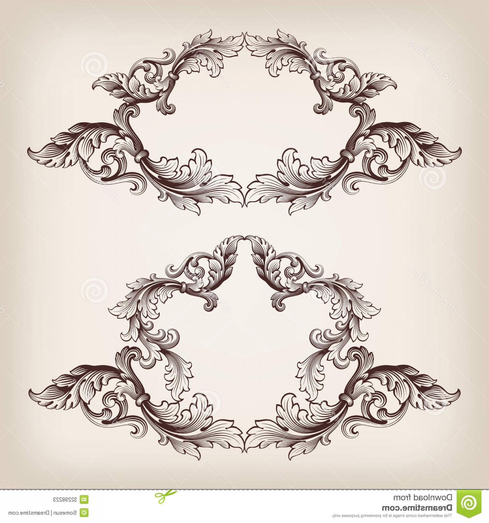 Baroque Vector Clip Art: Stock Photos Vintage Set Border Frame Engraving Baroque Vector Filigree Retro Ornament Pattern Antique Style Ornate Decorative Image