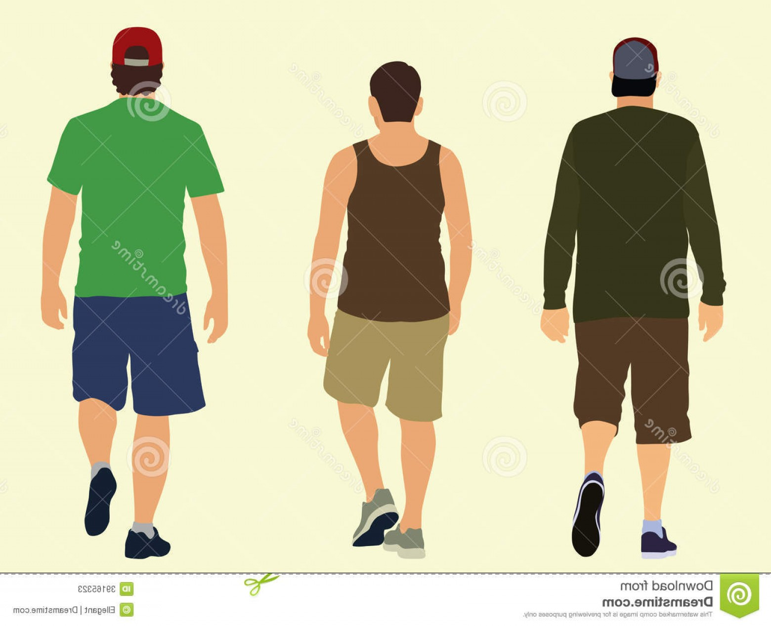 Walking Away Vector: Stock Photos Walking Away Three Young Men Wearing Shorts Image