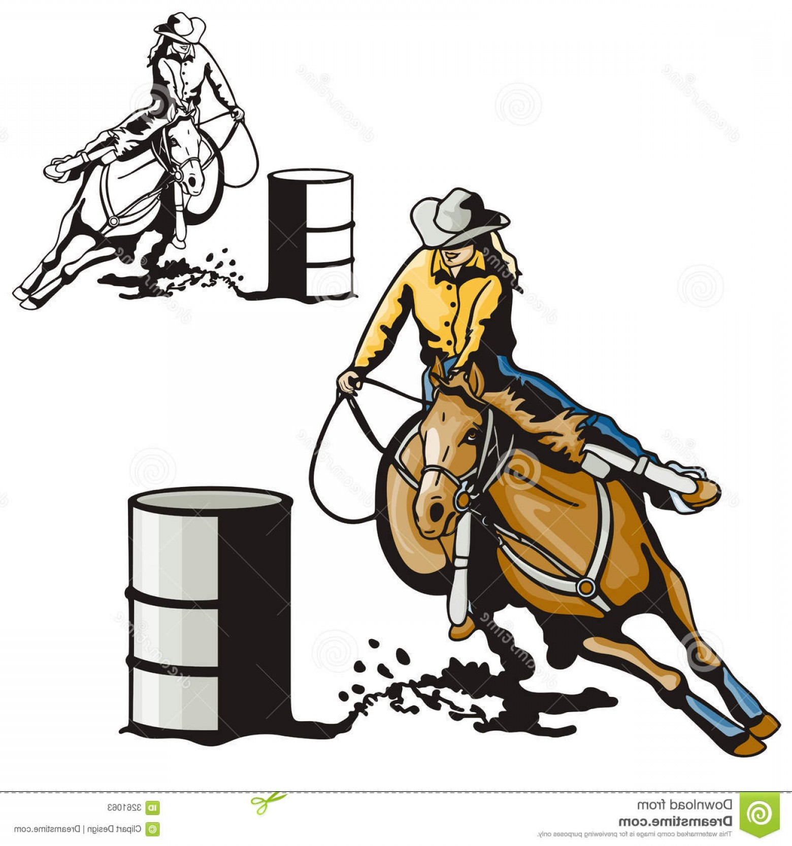 Barrel Racer Vector: Stock Photos Western Illustration Series Image