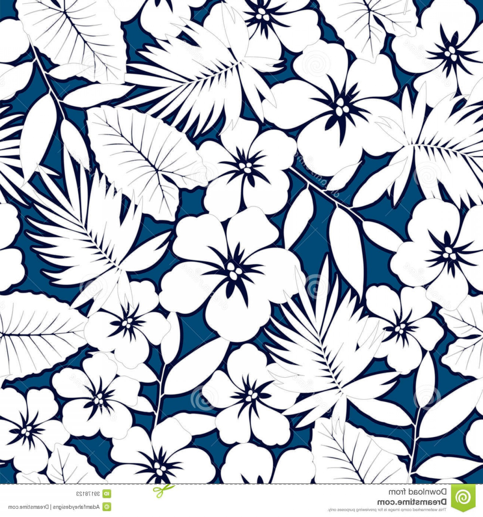 Hawaiian Pattern Vector: Stock Photos White Hawaiian Hibiscus Seamless Pattern Image