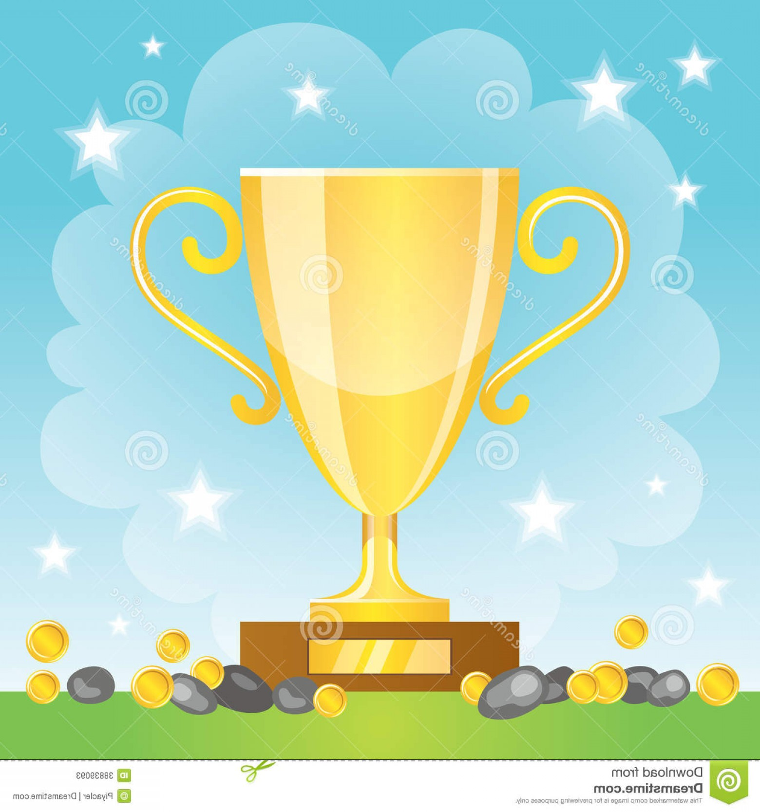 Gold Trophy Vector: Stock Photos Winner Cup Coins Gold Trophy Vector Illustration Image