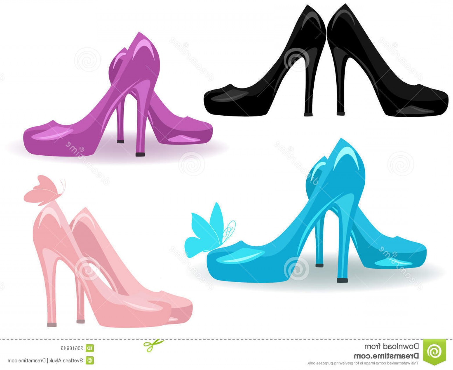 Silhouette Hee High Vector Lsitleetios: Stock Photos Women Shoes Vector Image