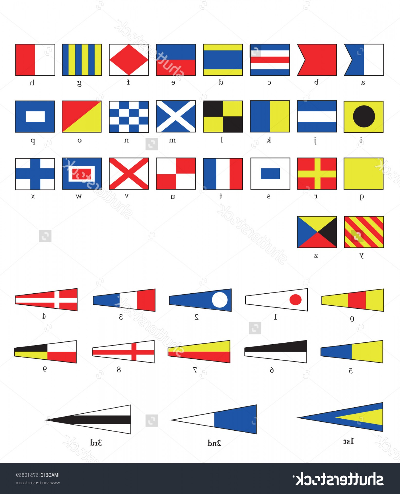 EPS Vector Letters: Stock Vector A Complete Set Of Nautical Flags For Letters And Numbers Including Ordinal Numbers Eps Vector