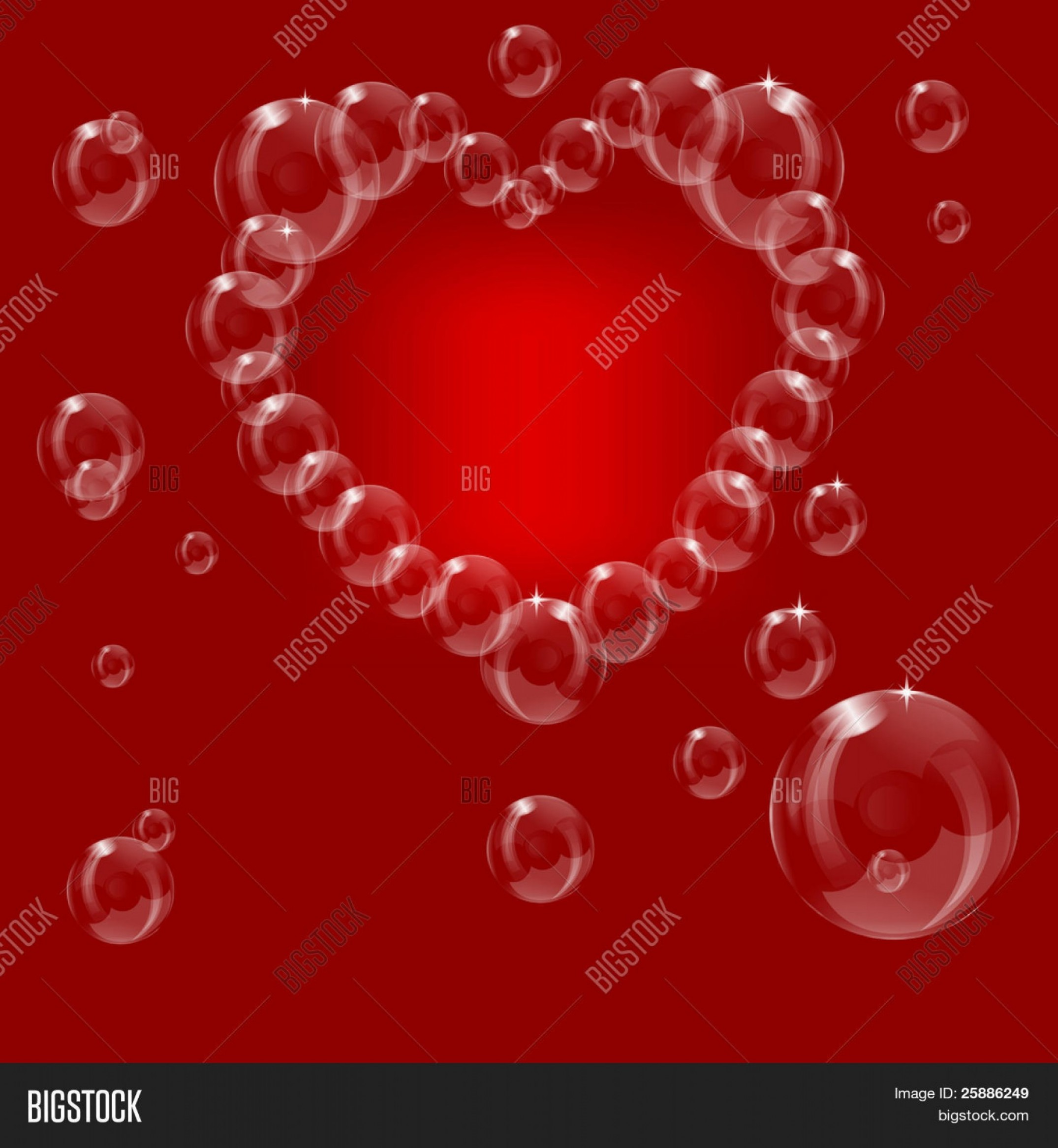 EPS Vector Soap Bubbles: Stock Vector A Heart Made From Soap Bubbles On A Red Background Can Be Used For Love Or Valentines Day Saved In Eps Format