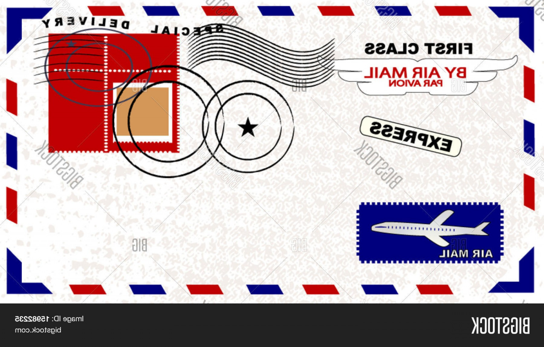 Vector Envelope Express: Stock Vector Air Mail Envelope With Postage