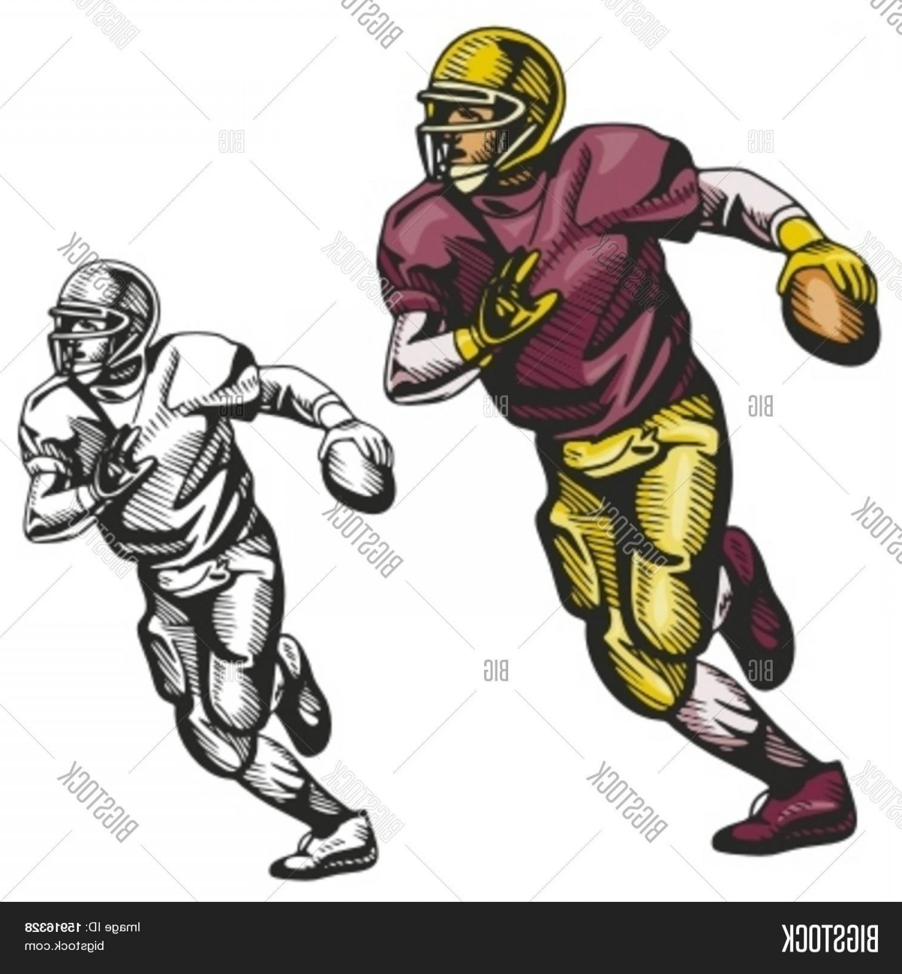 High Res Vector American Football: Stock Vector American Football Player Vector Illustration