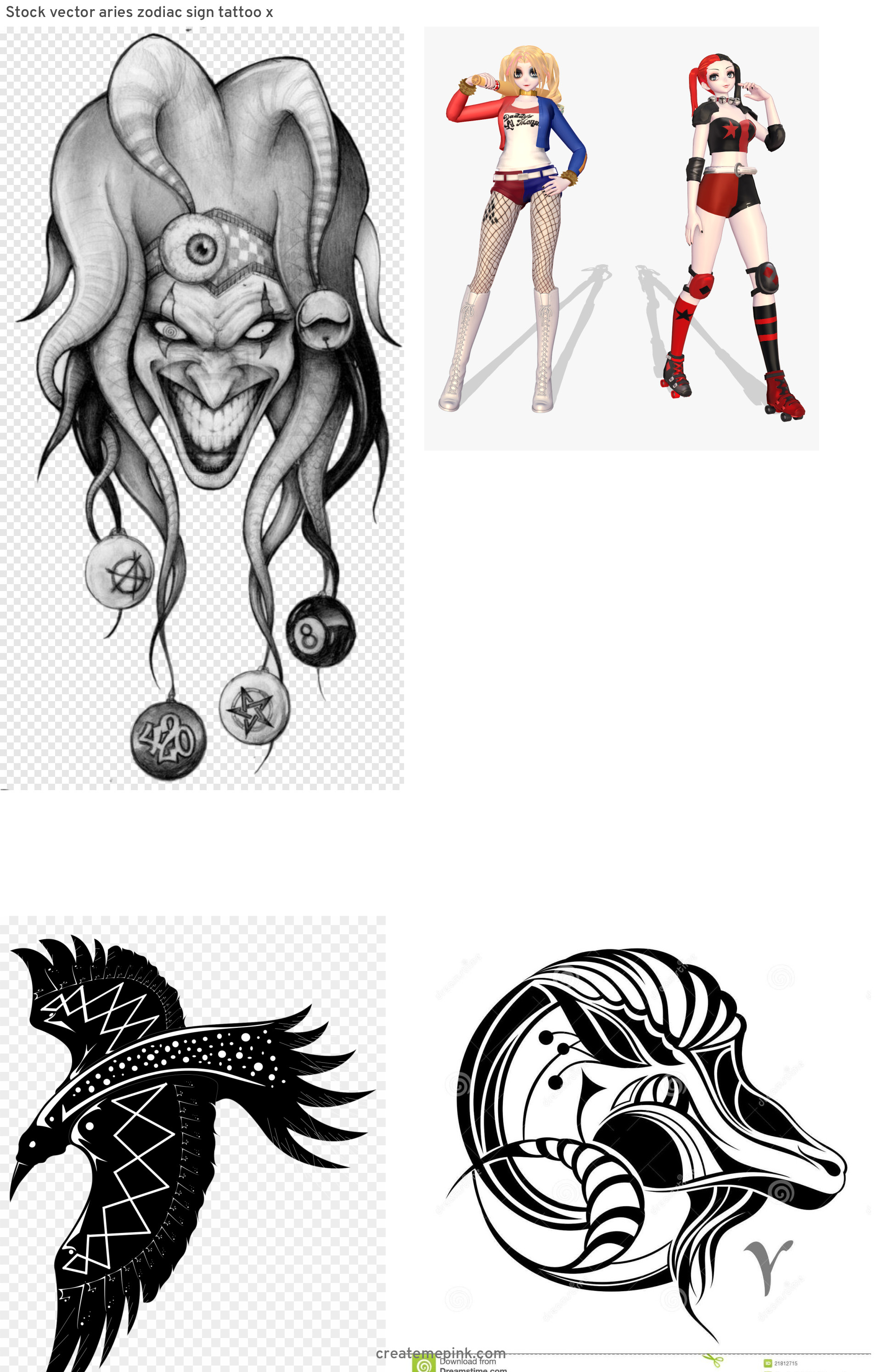 Harley Quinn Black And White Vector: Stock Vector Aries Zodiac Sign Tattoo X