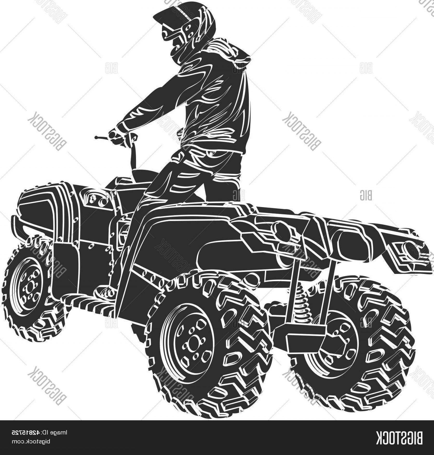 ATV Rider Vector: Stock Vector Atv Off Road Rider Silhouette Jumping In To The Sunset