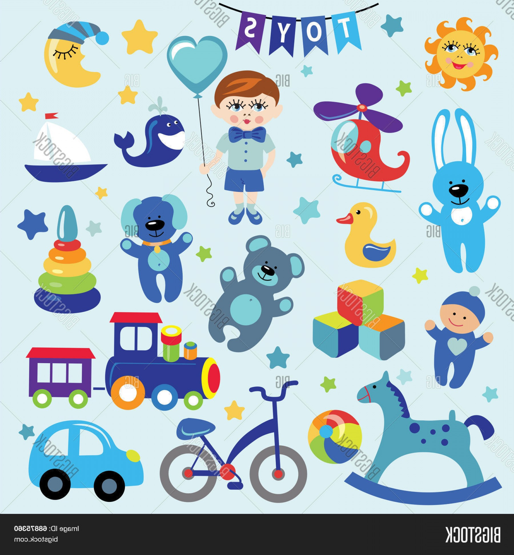 Baby Toy Vector: Stock Vector Baby Boy With Baby Toy Icons