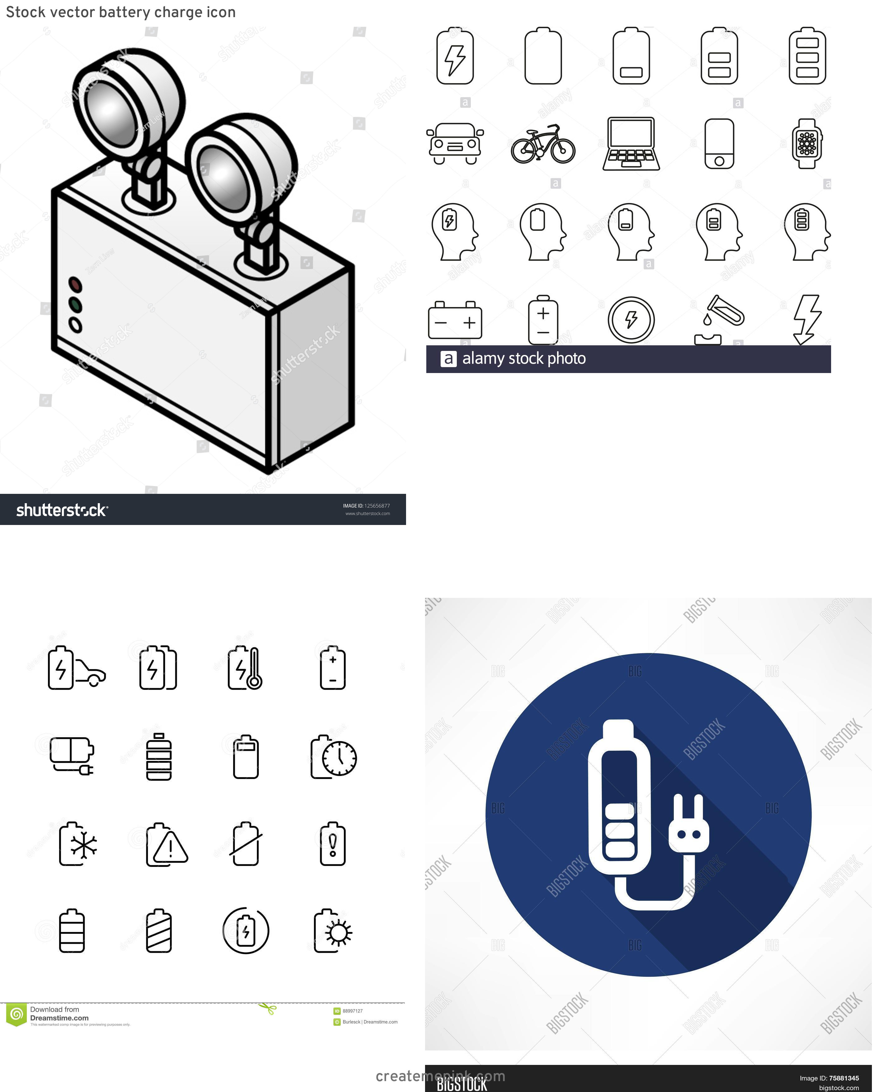 Vector Rechargeable Lamp Battery: Stock Vector Battery Charge Icon