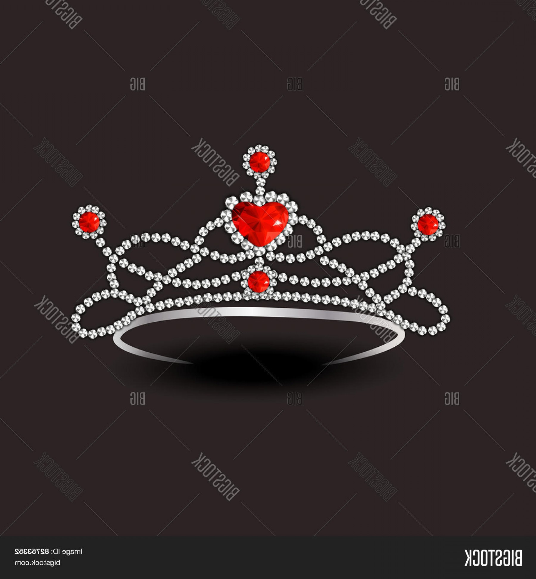 Pageant Tiaras Vector: Stock Vector Beautiful Stylish Diamond Tiara With Red Rubies On Dark Brown Background