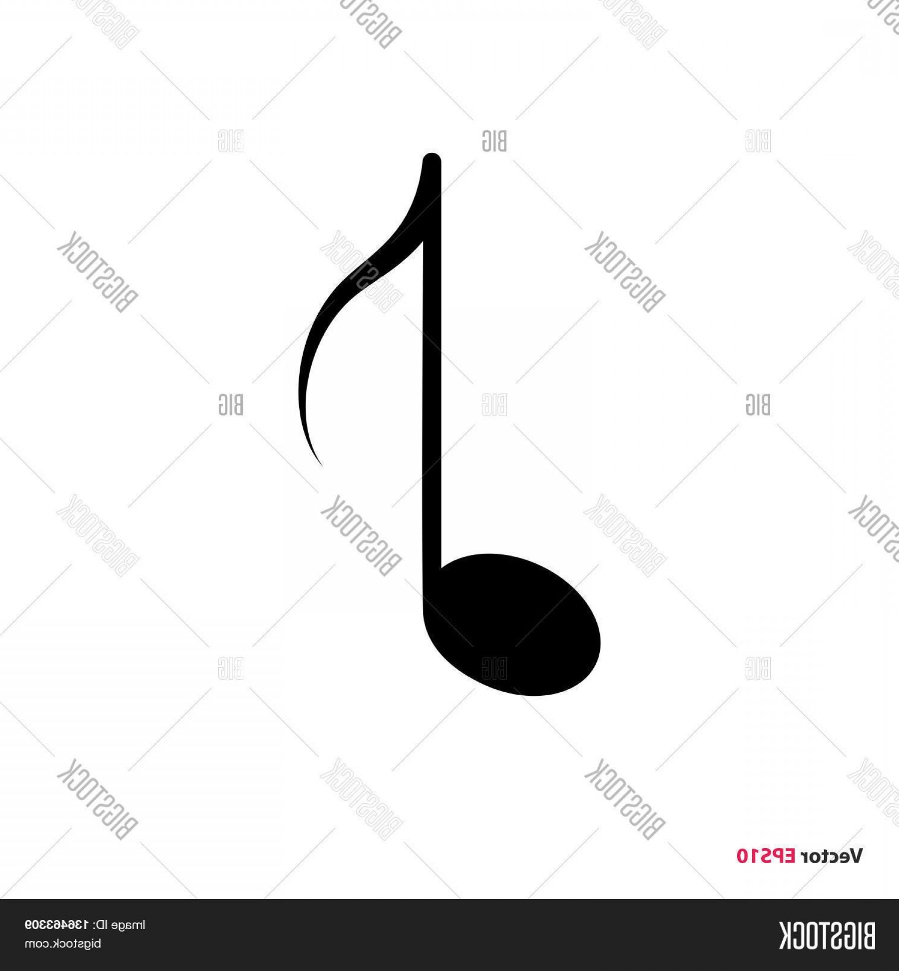 Eighth Note Vector: Stock Vector Black Isolated Music Eighth Note Vector Icon