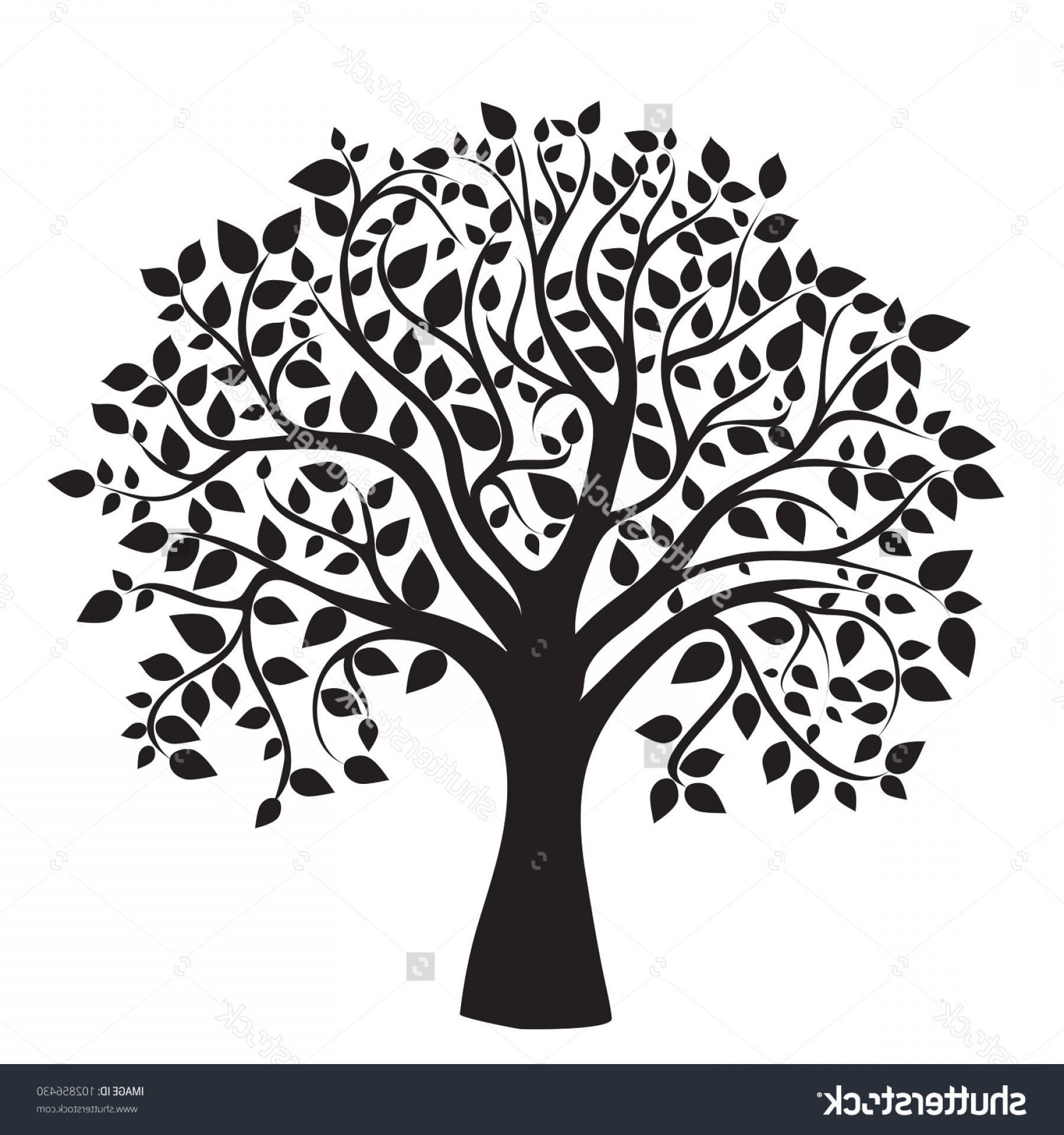 Apple Tree Vector Black: Stock Vector Black Tree Silhouette Isolated On White Background Vector