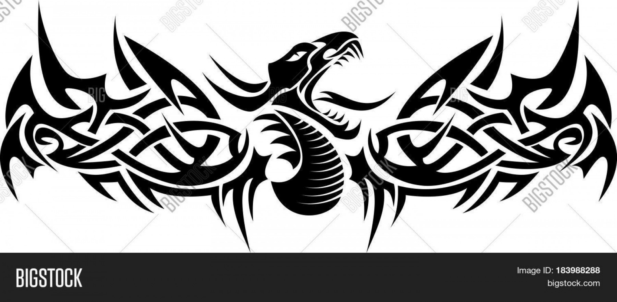 Vector Black Tribal: Stock Vector Black Tribal Dragon Flying Tattoo Vector Illustration
