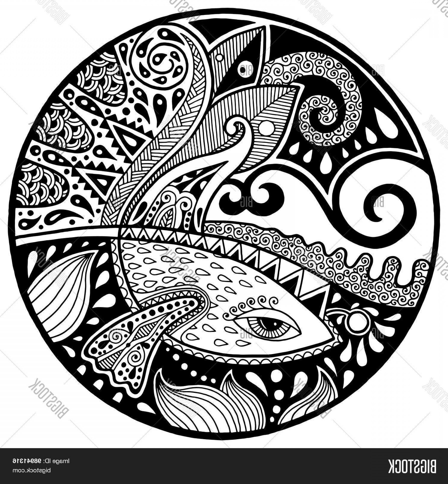 Black And White Circle Vector Graphics: Stock Vector Black White Abstract Zendala With Fish And Waves On Circle
