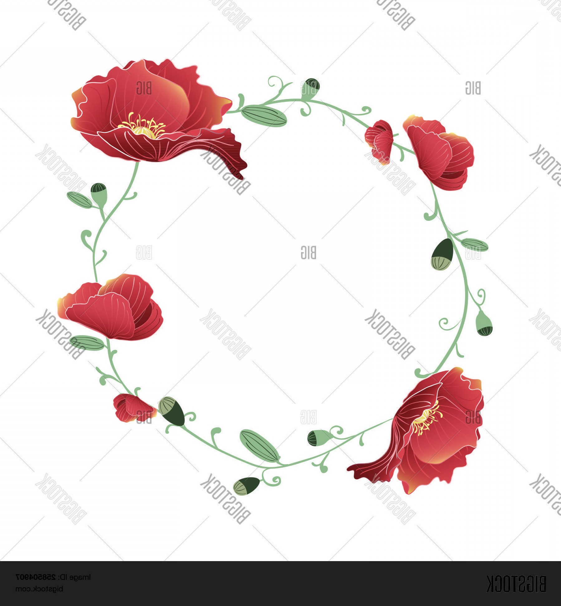 Vector Image Of A Budding Flower: Stock Vector Blooming And Budding Red Poppy Flowers Wreath