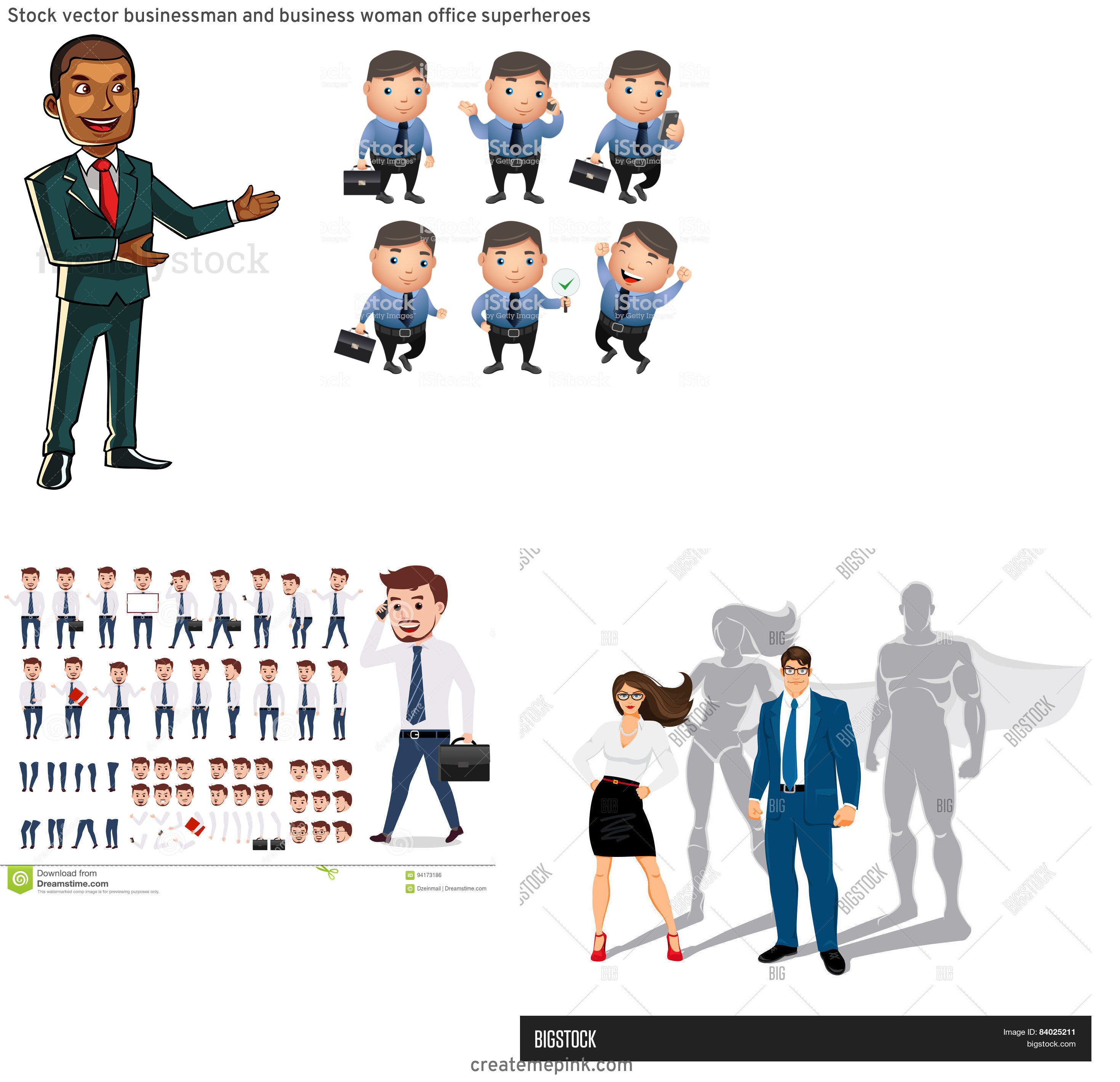 Vector Business Attire: Stock Vector Businessman And Business Woman Office Superheroes