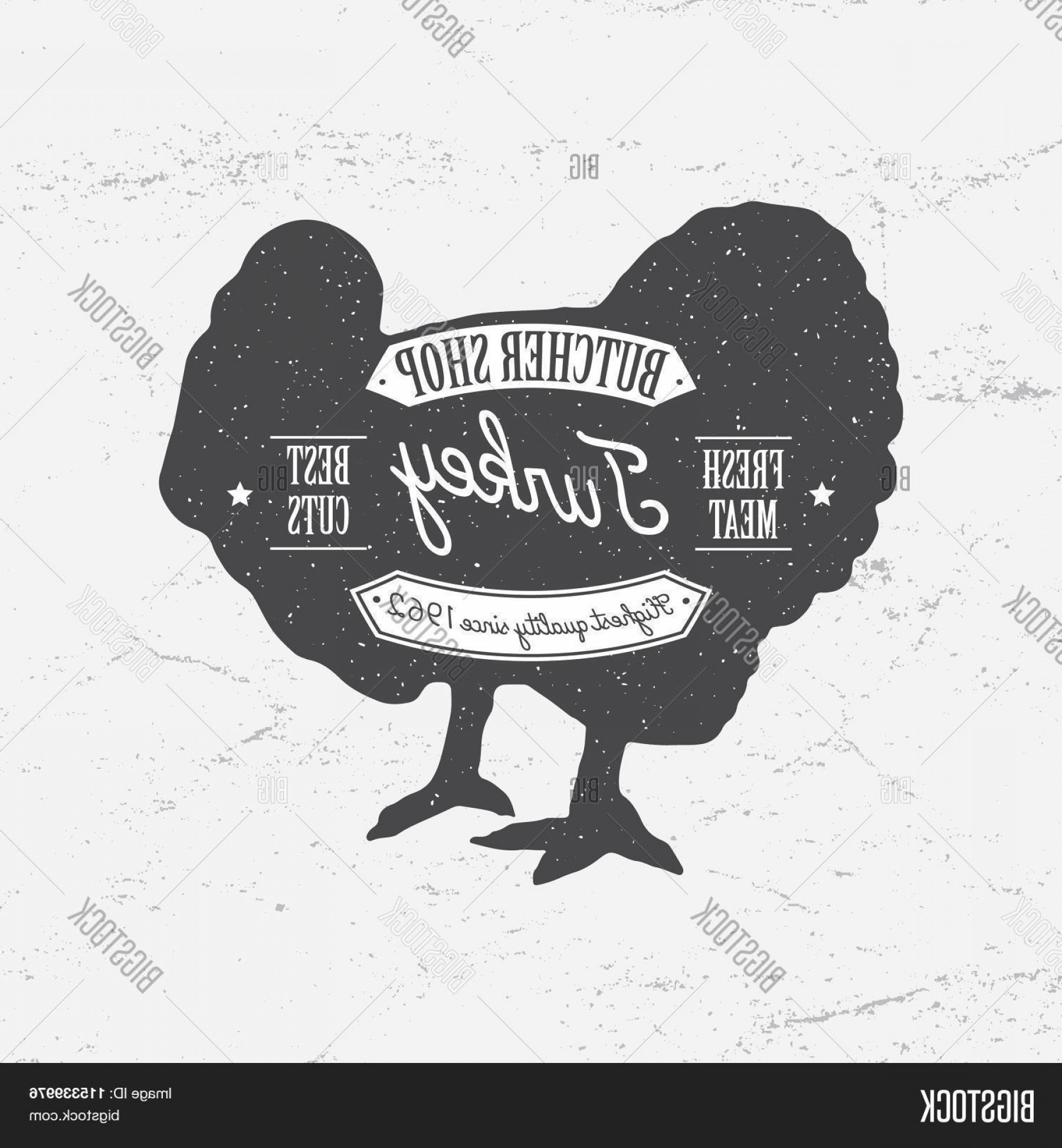Turkey Logo Vector Art: Stock Vector Butcher Shop Logo Template Retro Style Vintage Design For Logotype Label Badge And Brand Design