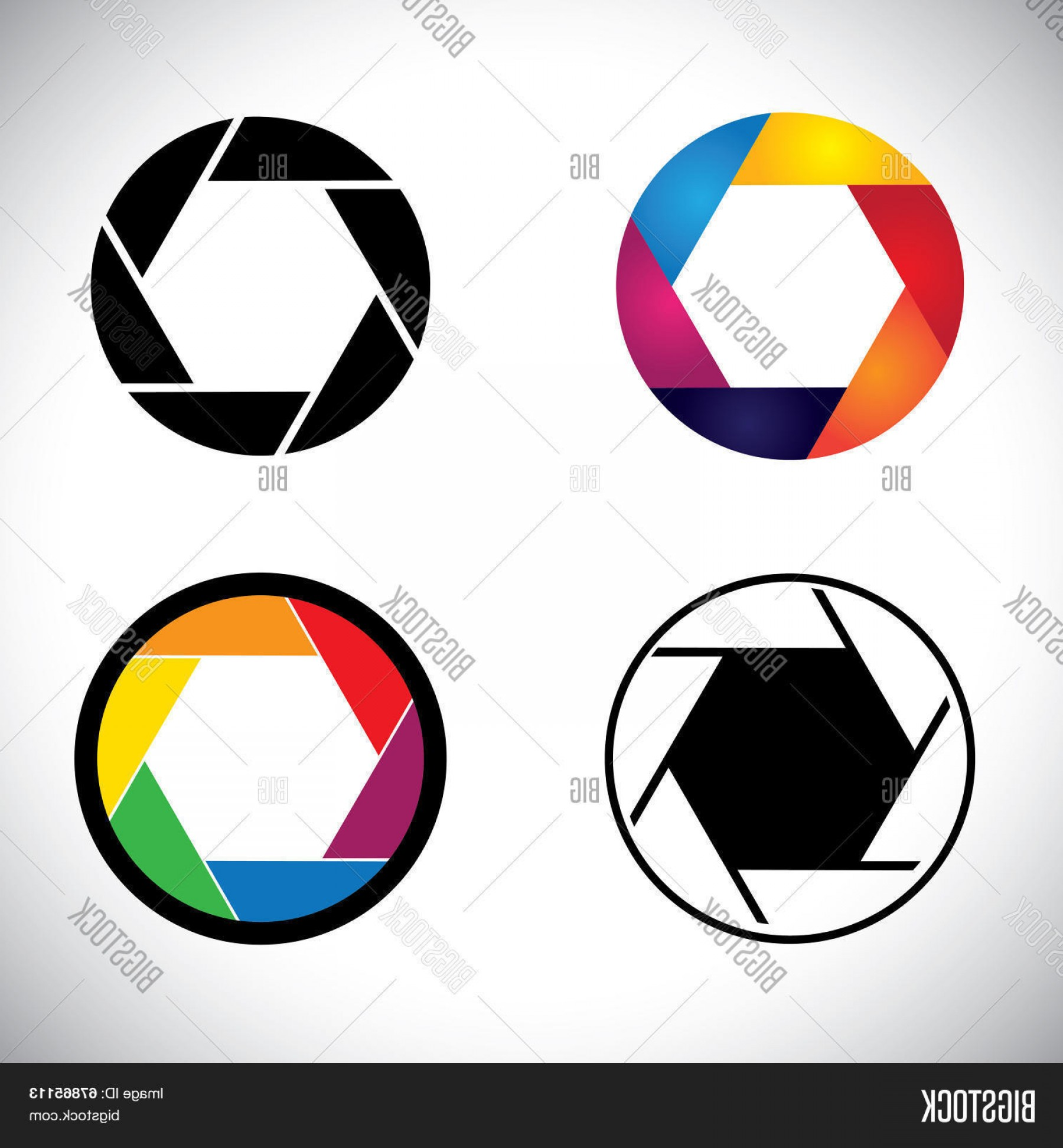 SLR Camera Vector: Stock Vector Camera Lens Shutter Aperture Abstract Icons Vector Graphic