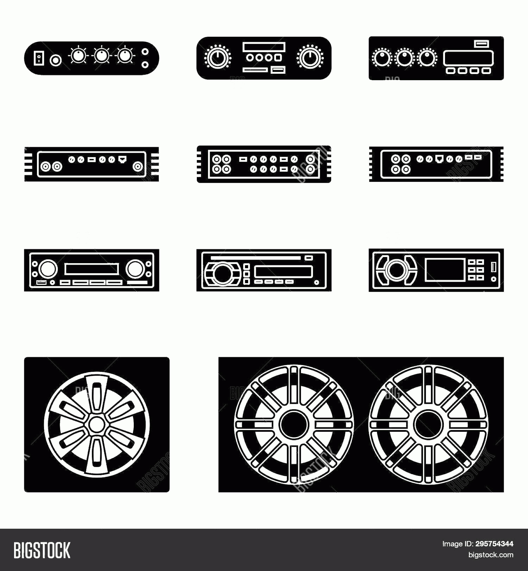 Car Audio Vector: Stock Vector Car Audio Speakerc Radio And Amplifier Silhouette Vector Icons