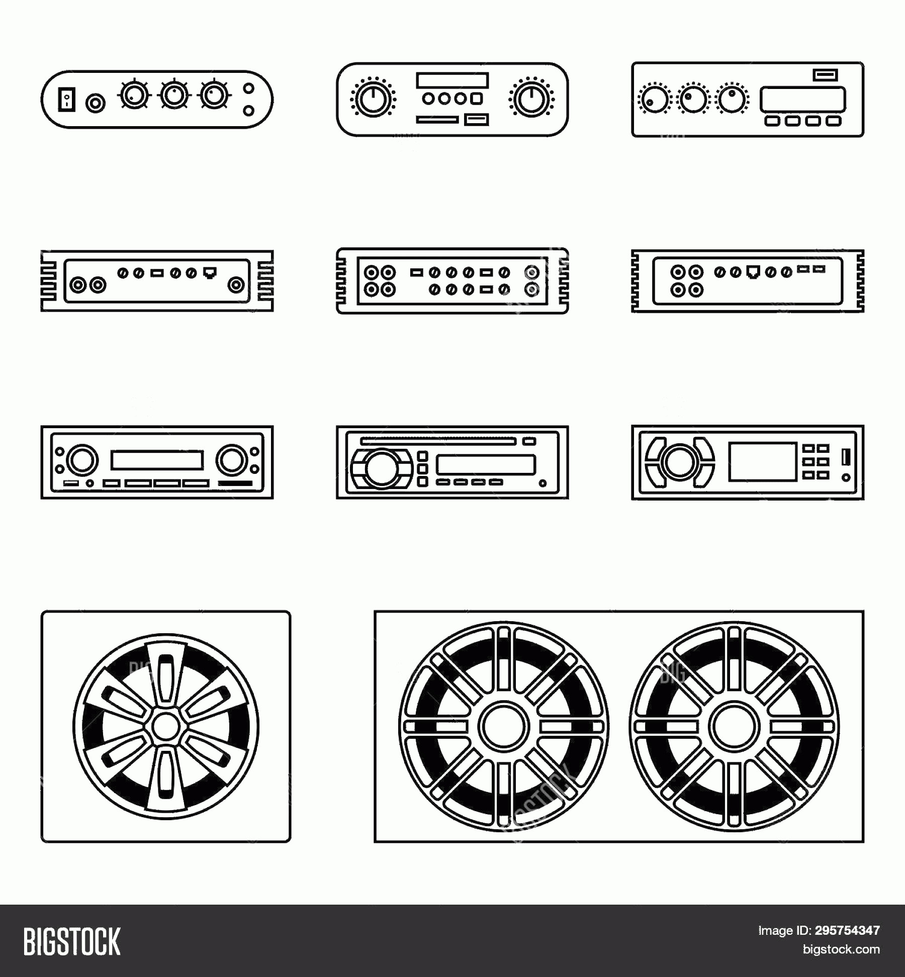 Car Audio Vector: Stock Vector Car Audio Speakerc Radio And Amplifier Thin Line Vector Icons