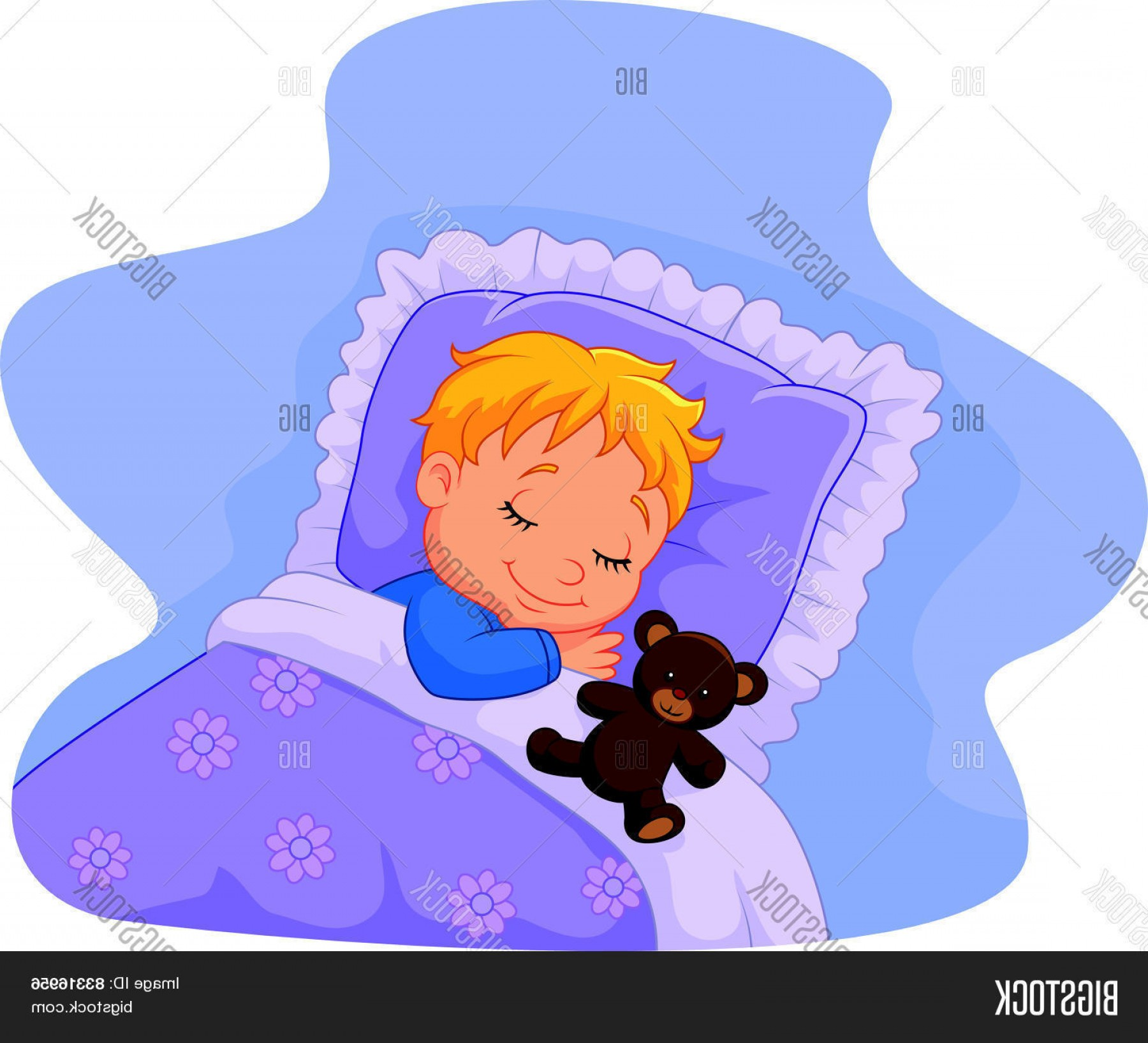 Sleeping Baby Vector: Stock Vector Cartoon Baby Sleeping With Teddy Bear
