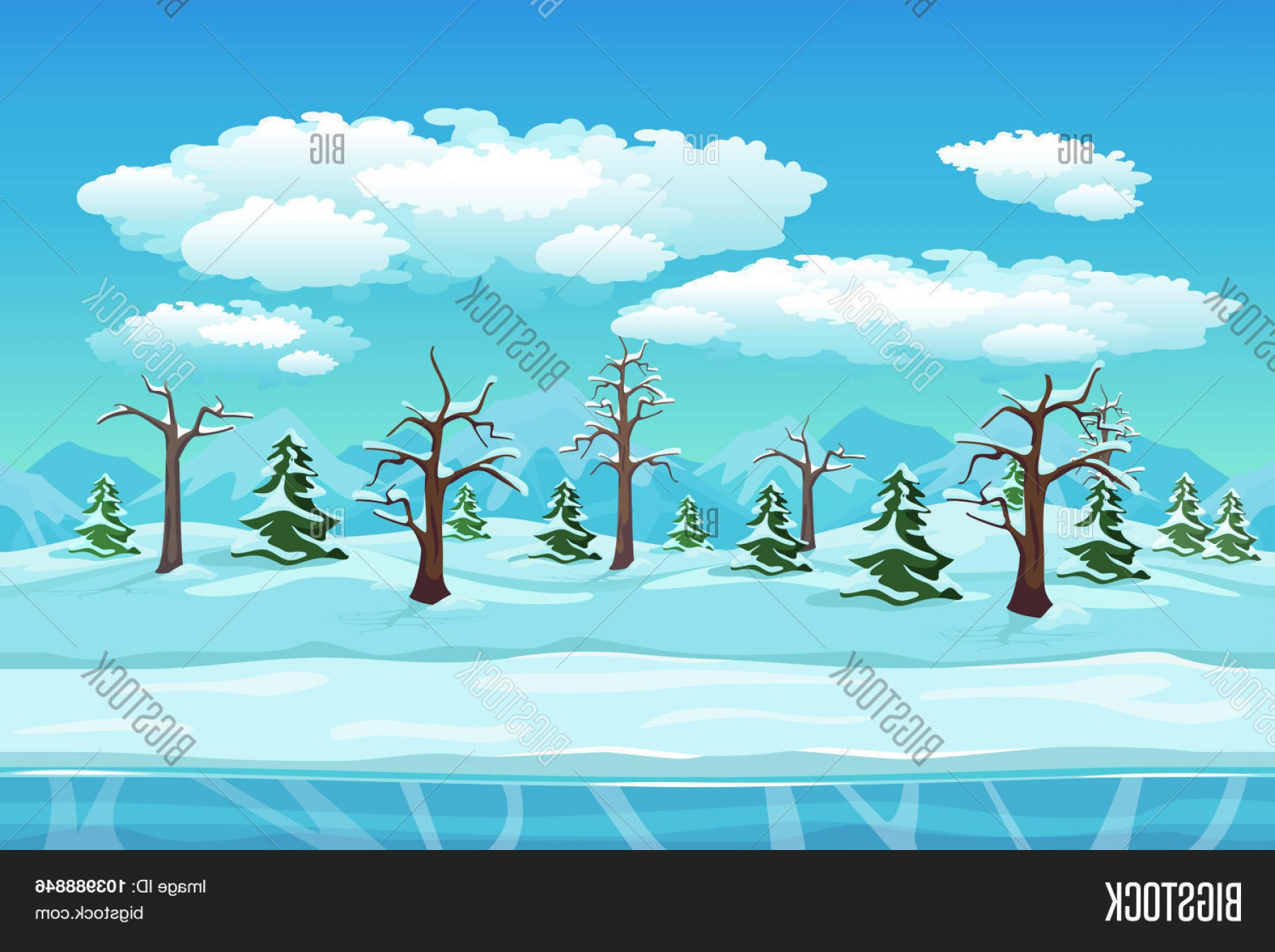 Free Winter Vector: Stock Vector Cartoon Winter Landscape With Ice Snow And Cloudy Sky Seamless Vector Nature Background For Games