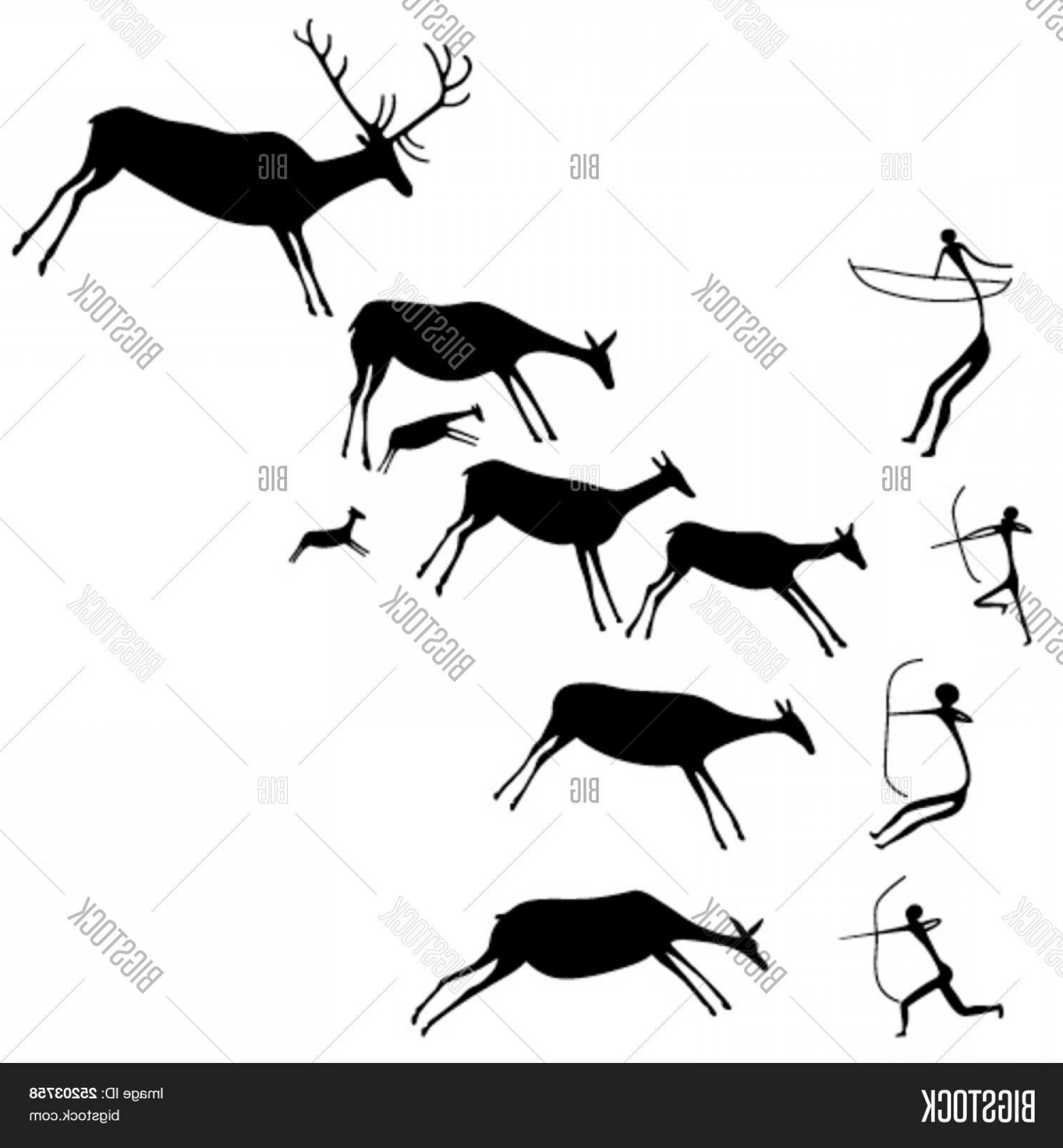 Cave Vector: Stock Vector Cave Painting The Hunters And Deers Late Stone Age Vector Silhouette