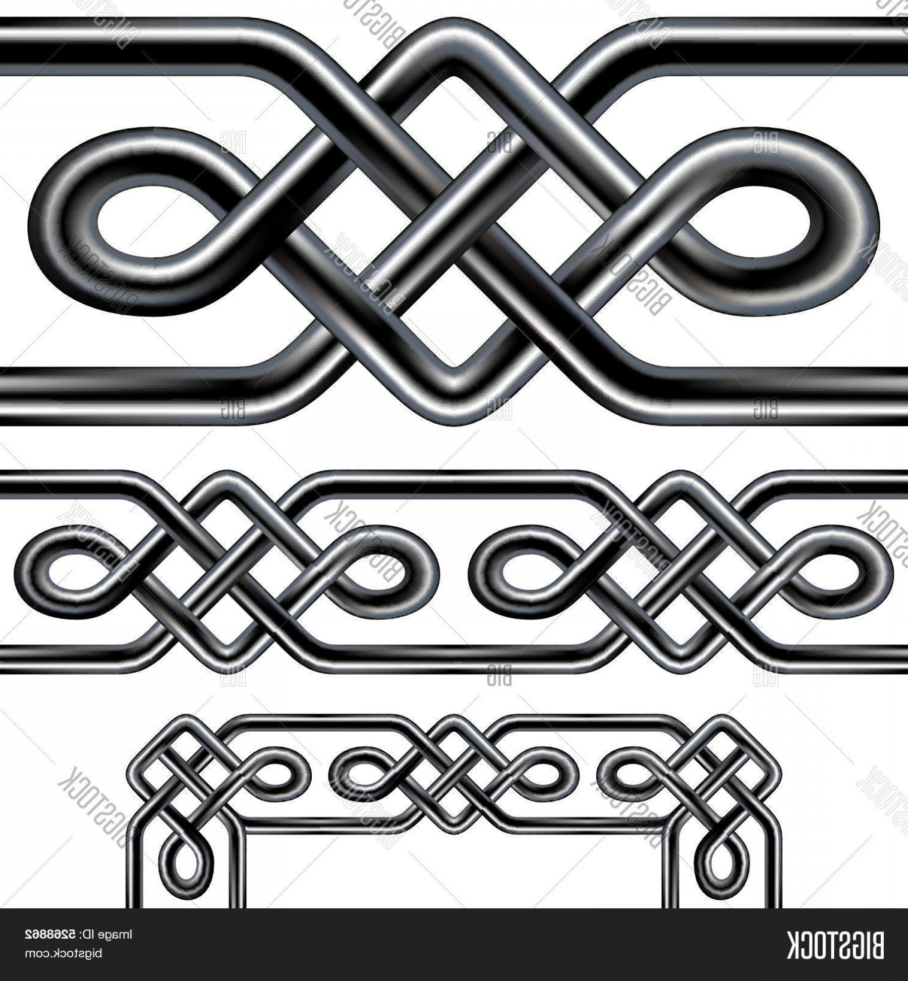Design Vector Image Of Rope: Stock Vector Celtic Rope Seamless Border Design With Corner Elements