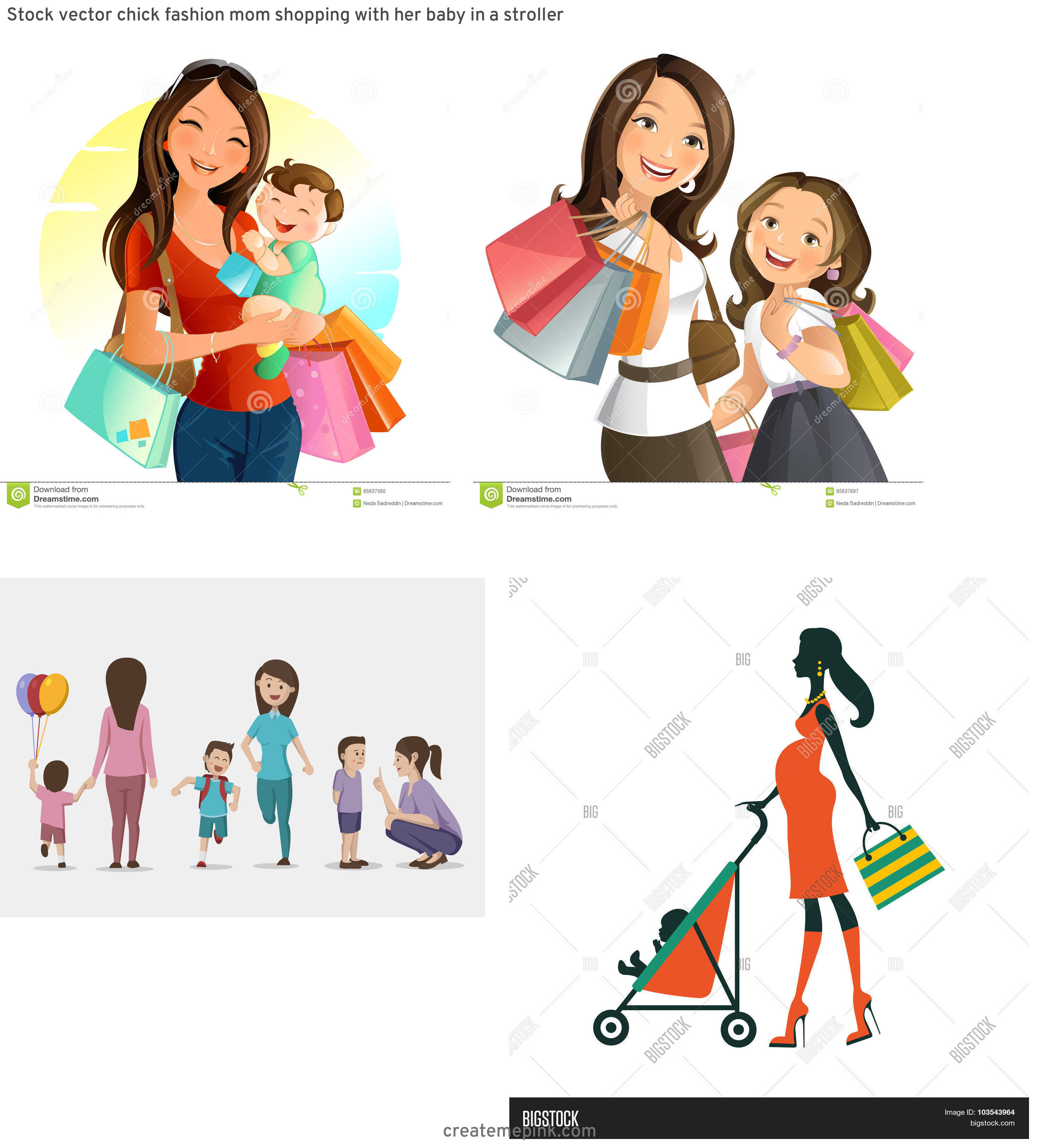 Shopping Vector Of Mom: Stock Vector Chick Fashion Mom Shopping With Her Baby In A Stroller