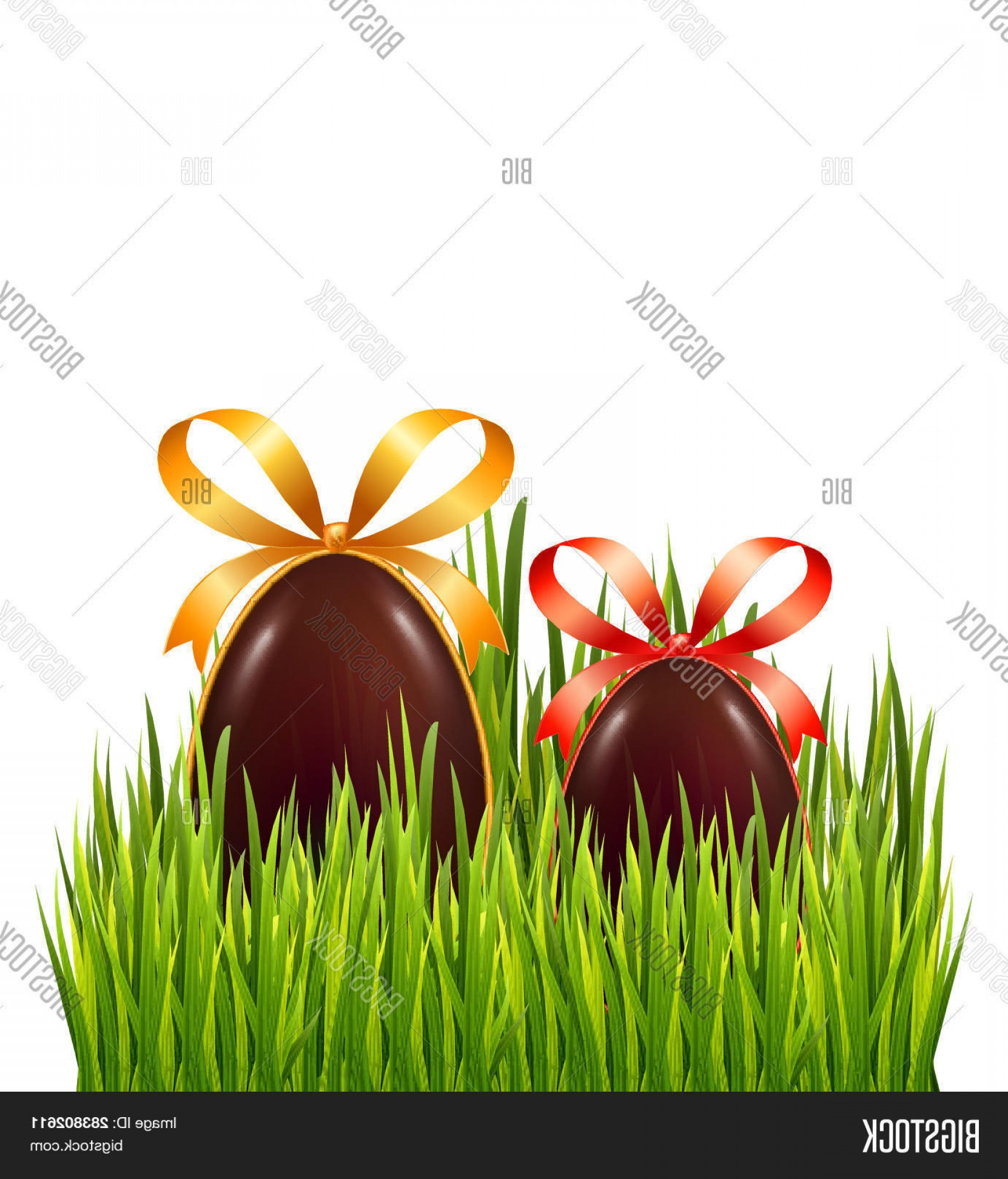 Chocolate Vector Plant: Stock Vector Chocolate Easter Eggs With Bow And Ribbon Isolated On White Background With Fresh Green Grass Banne